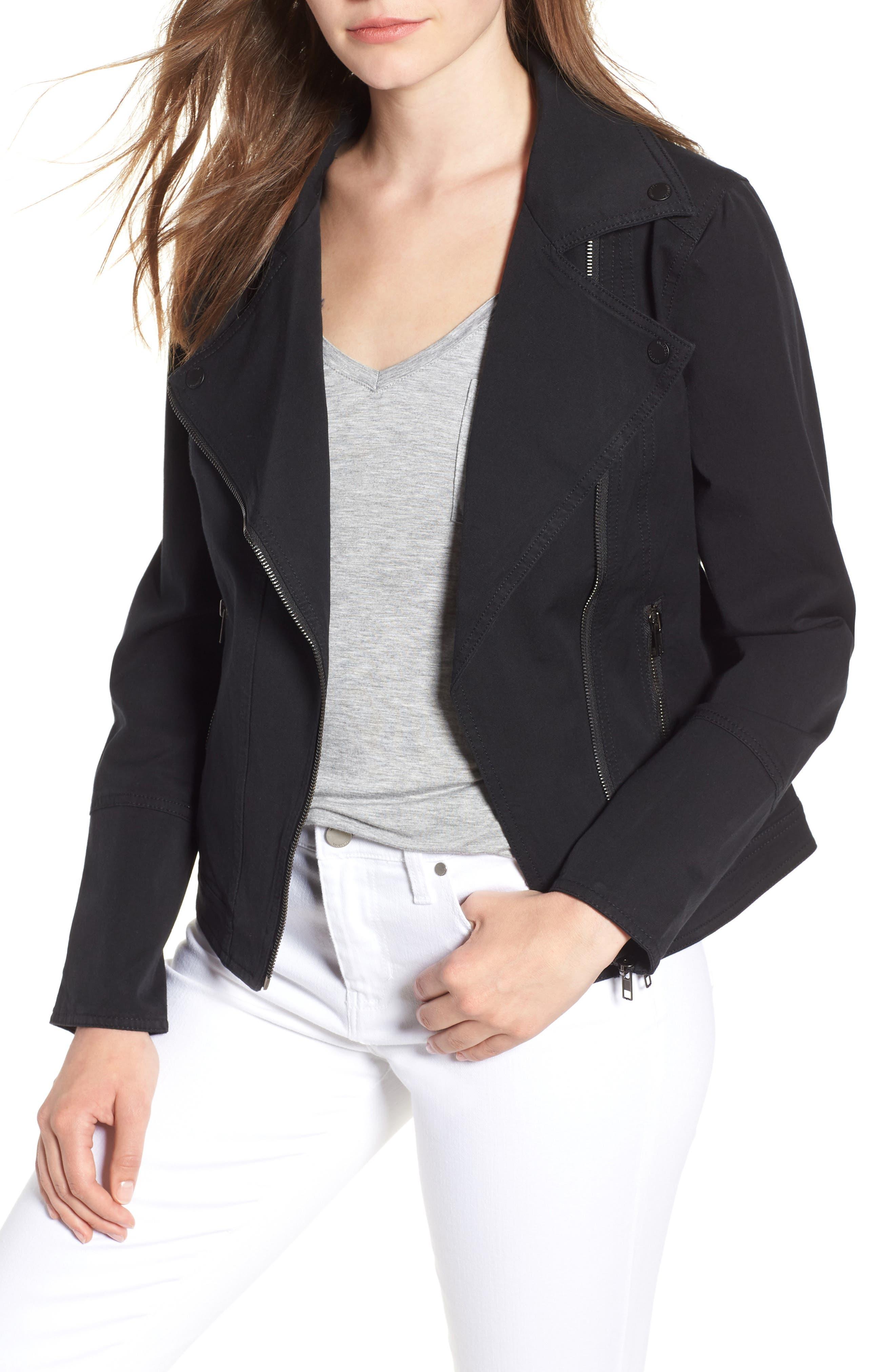 Stretch Cotton Moto Jacket,                         Main,                         color, BLACK