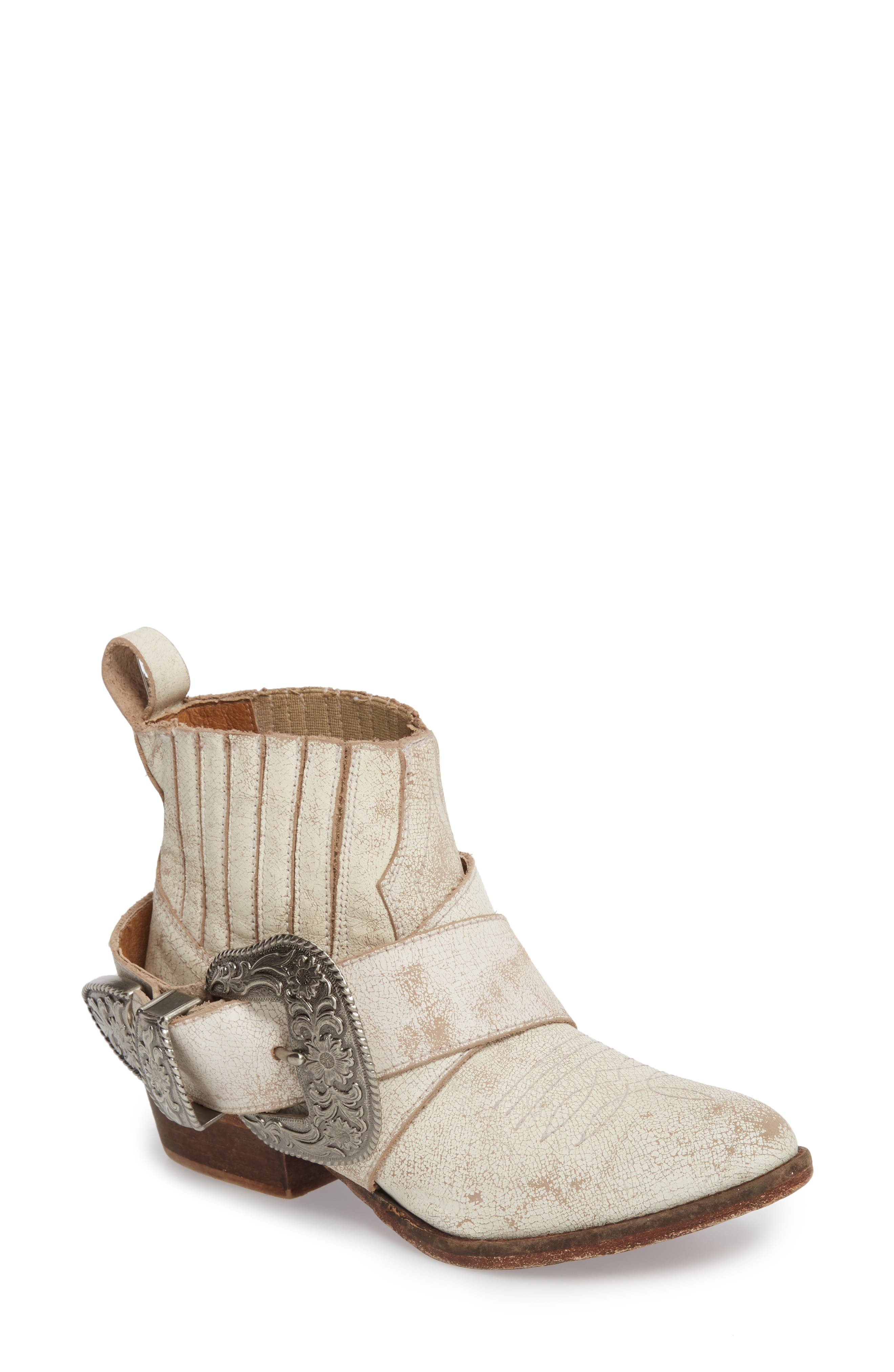 Western Biker Bootie,                         Main,                         color, WHITE LEATHER