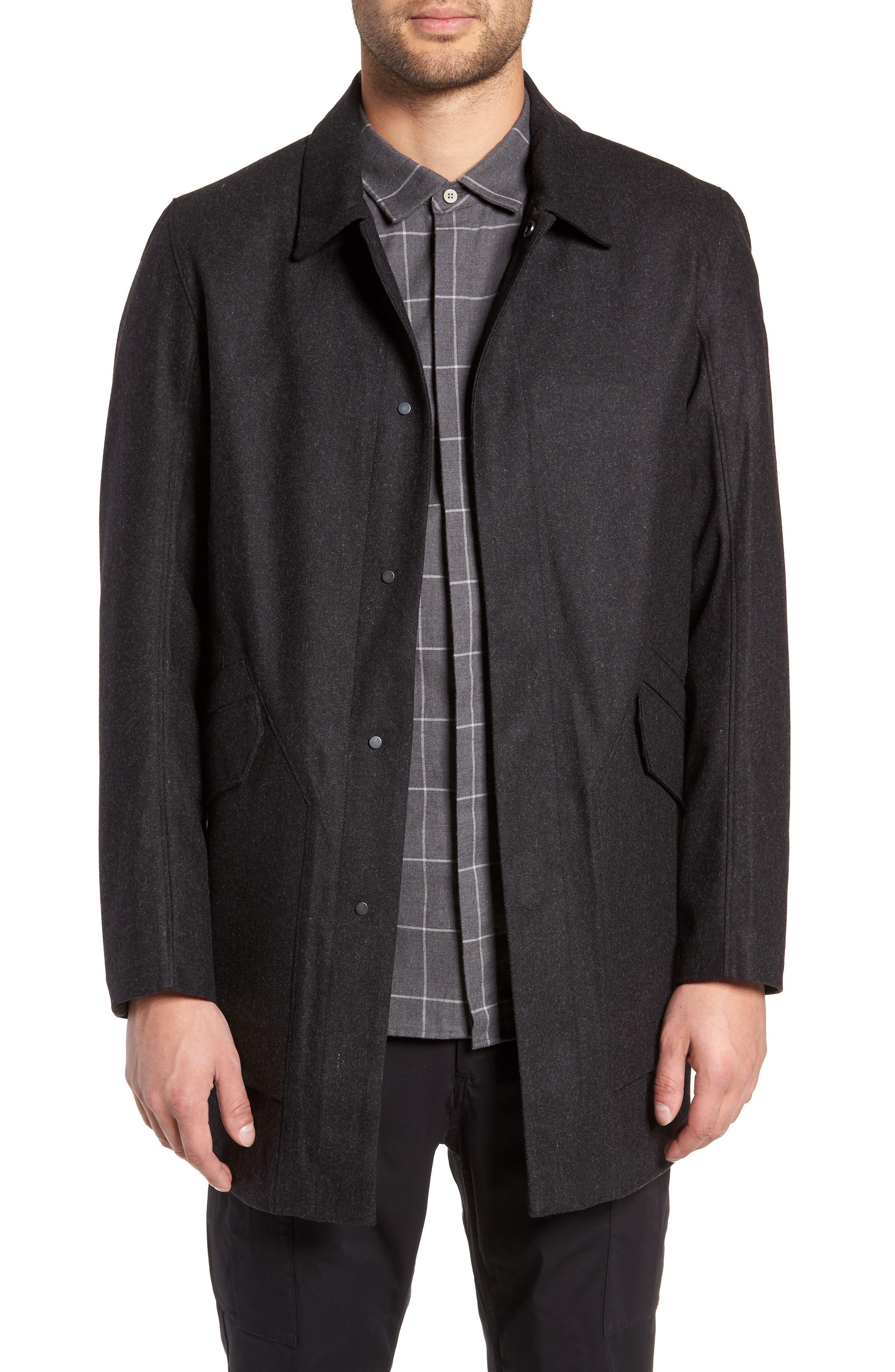 Tech Merino Wool Blend Mac Coat,                             Main thumbnail 1, color,                             MEDIUM BLACK