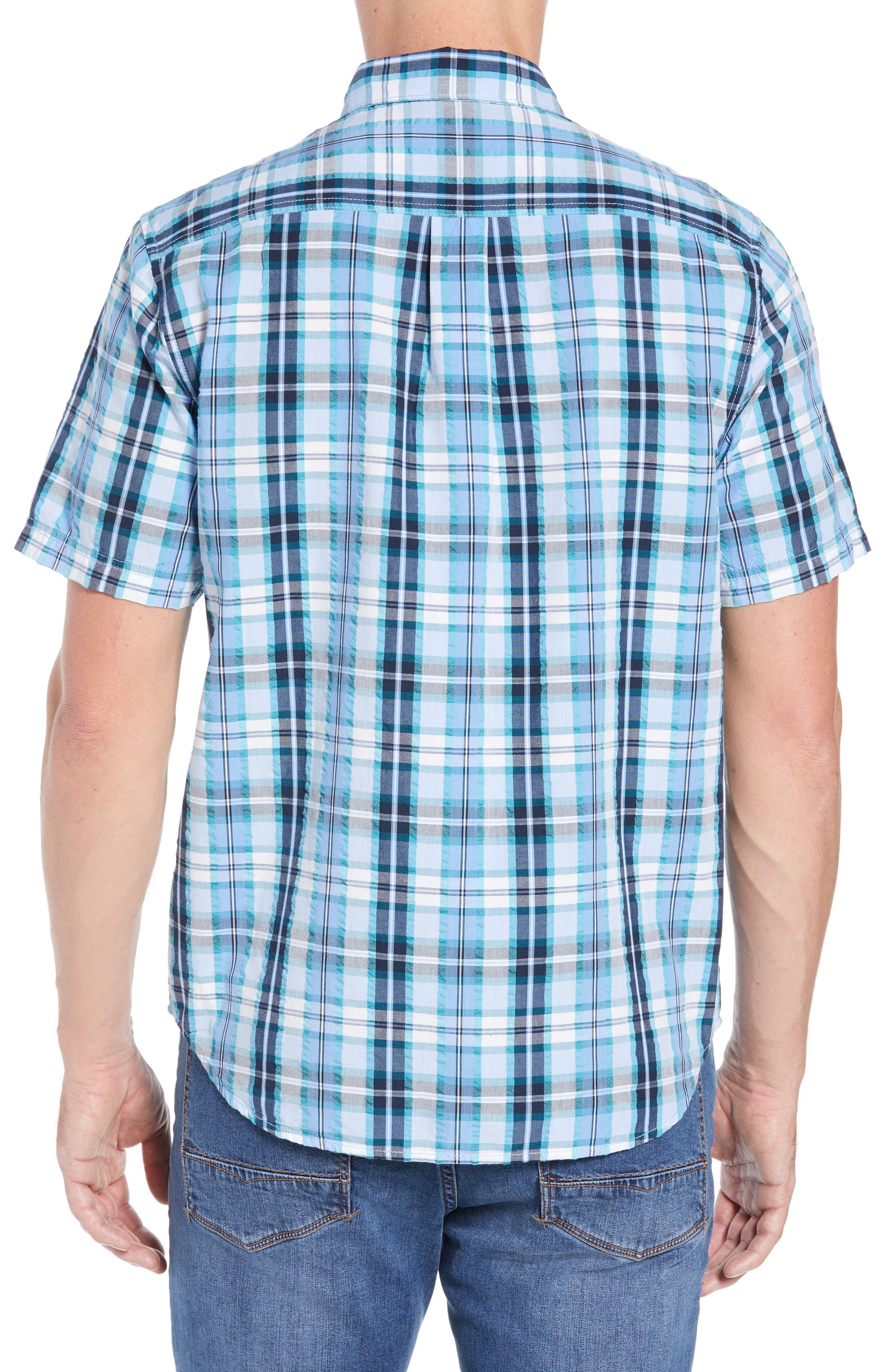 Papagayo Plaid Sport Shirt,                             Alternate thumbnail 3, color,                             RIVIERA AZURE