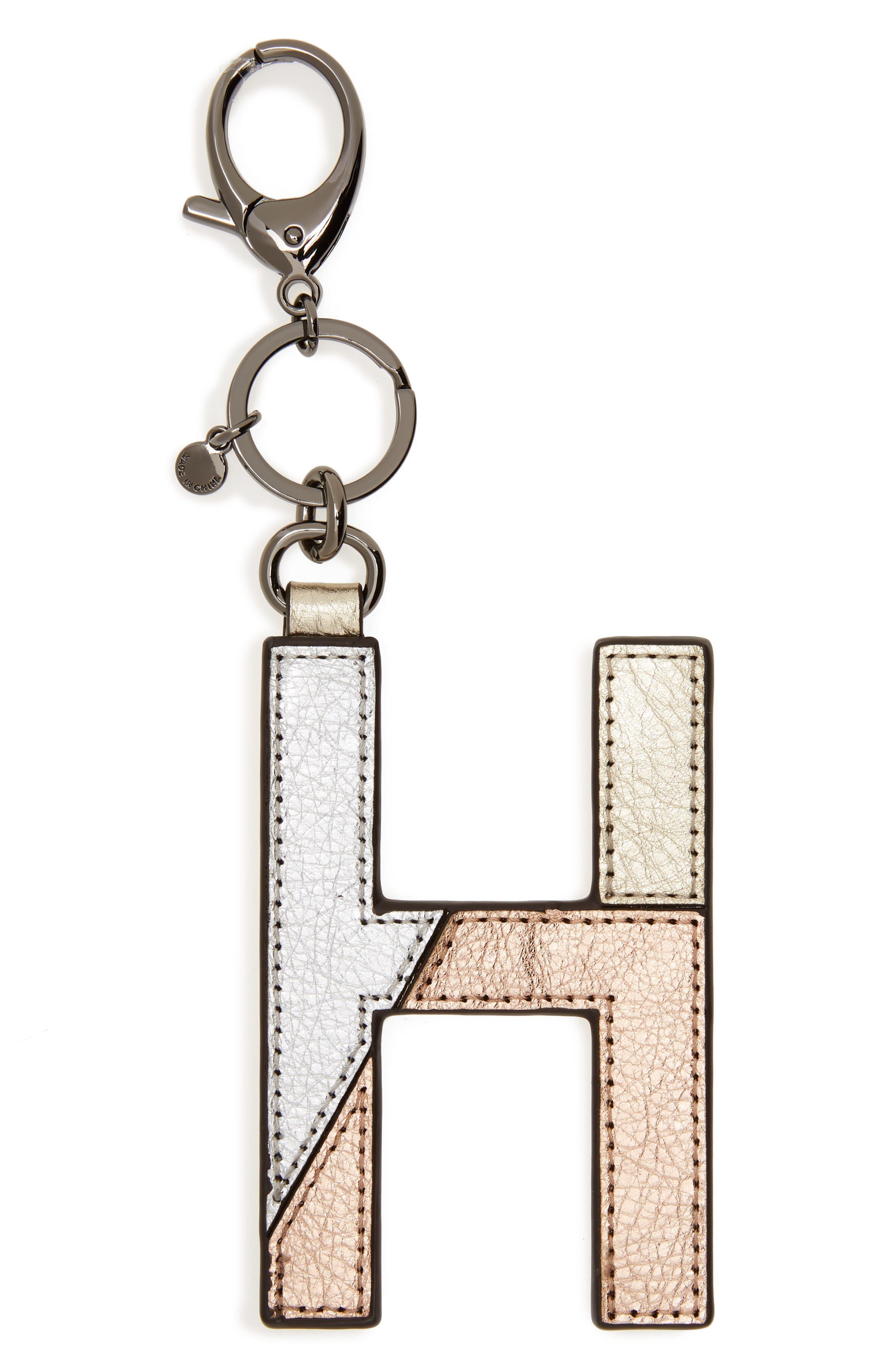 Metallic Leather Letter Bag Charm,                             Main thumbnail 6, color,