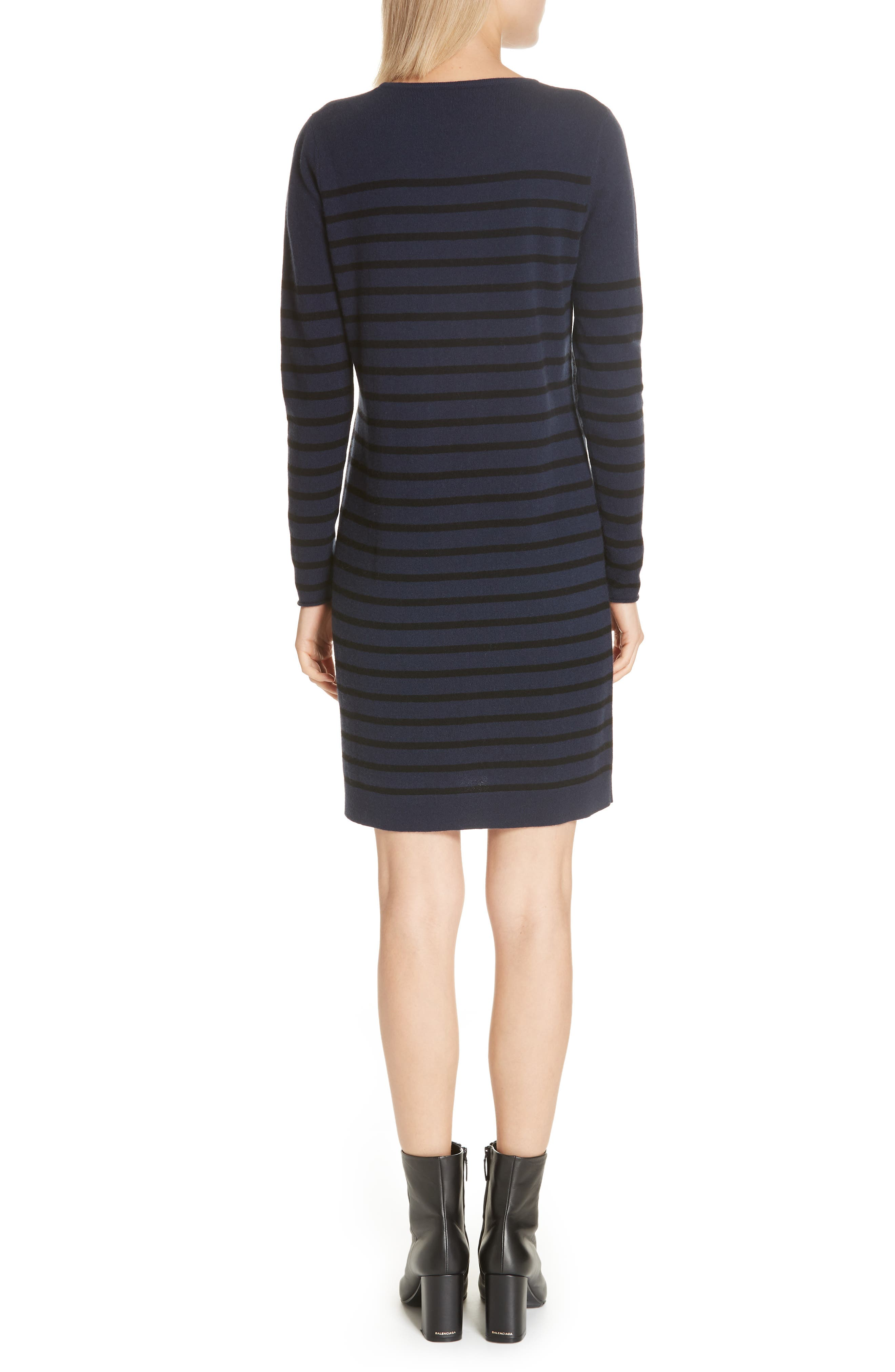 Stripe Wool & Cashmere Sweater Dress,                             Alternate thumbnail 2, color,                             NAVY/ BLACK