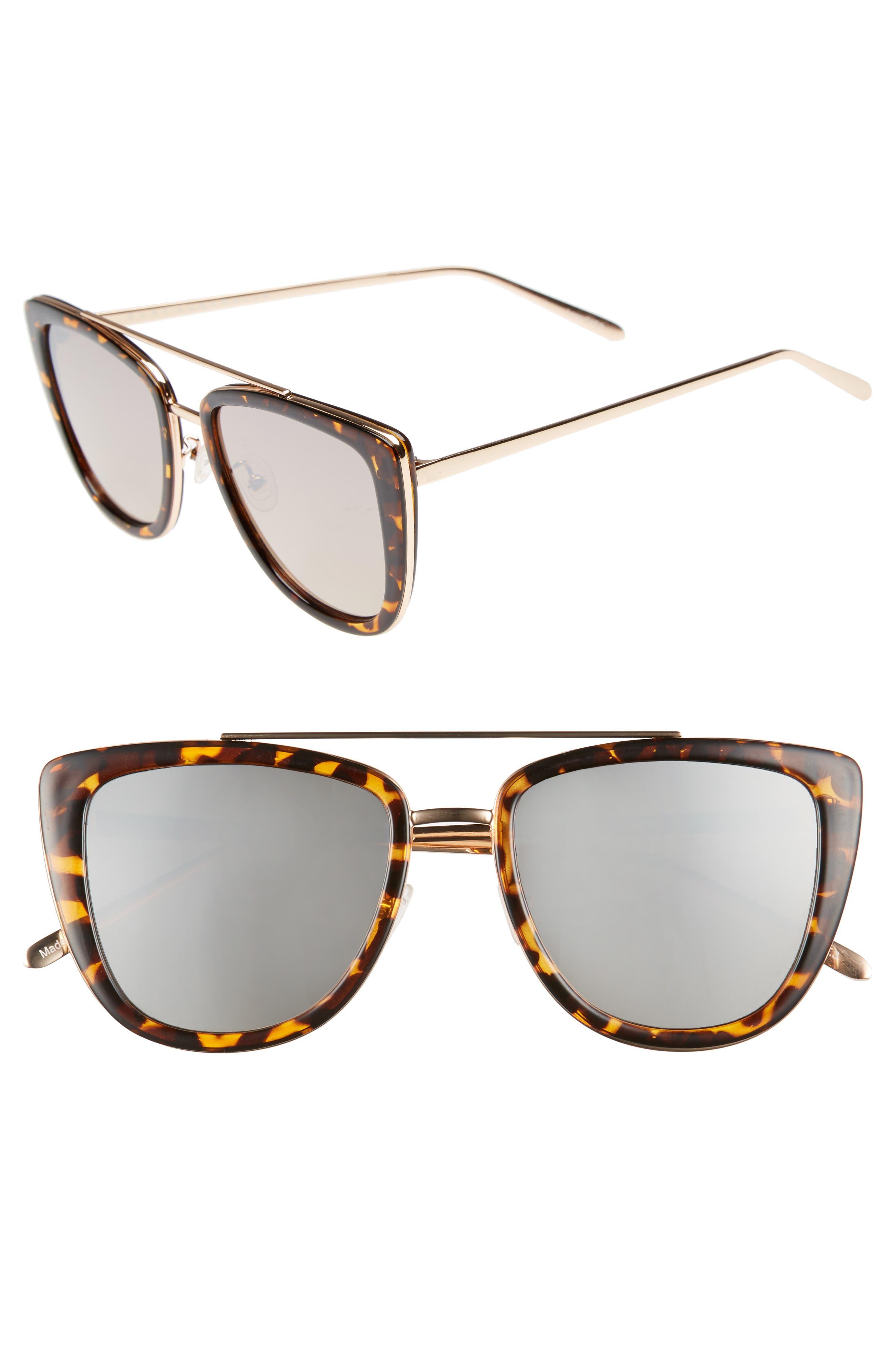 French Kiss 55mm Cat Eye Sunglasses,                             Main thumbnail 1, color,                             TORT/GOLD