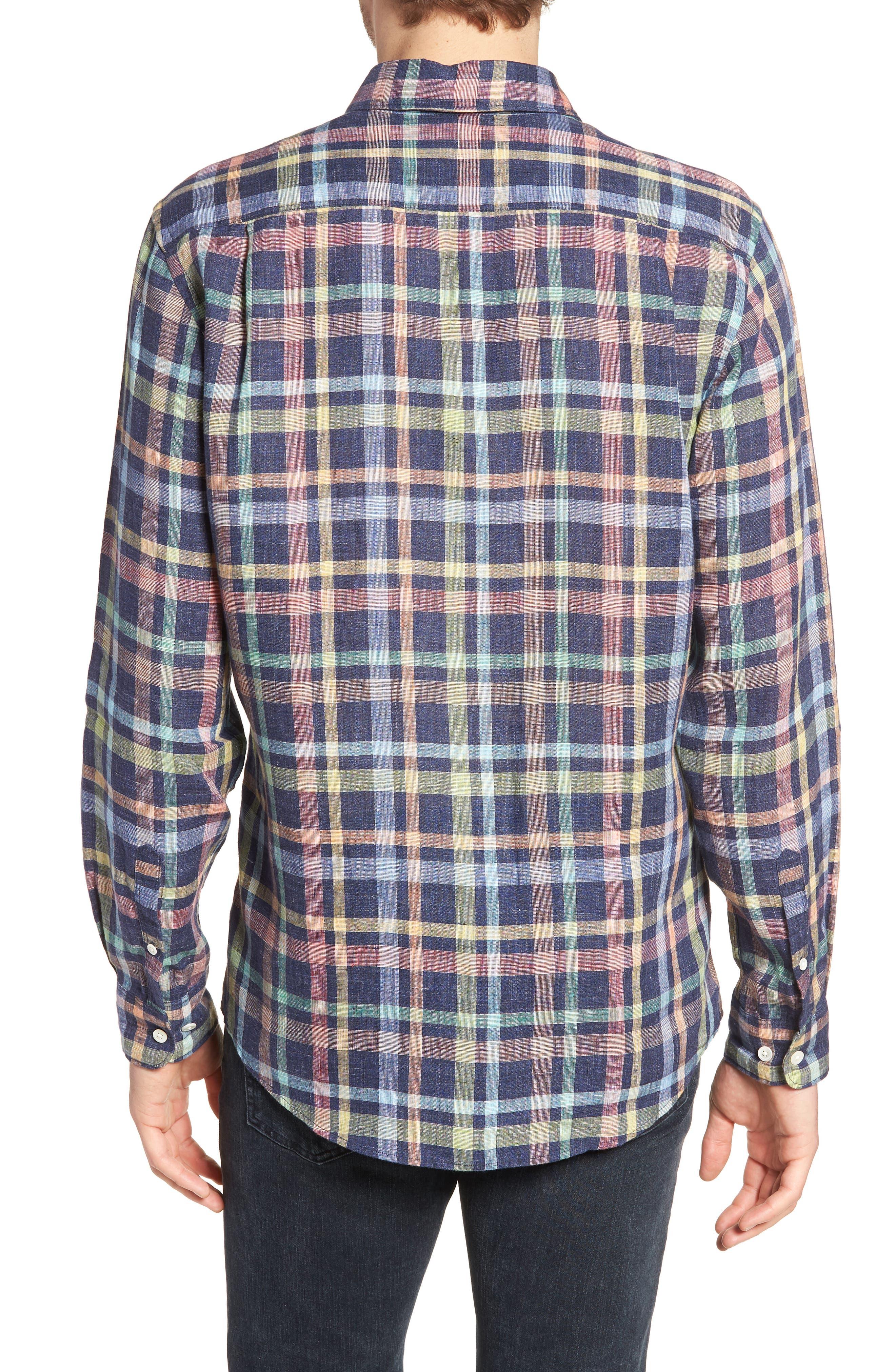 Stirling Plaid Linen Sport Shirt,                             Alternate thumbnail 2, color,                             401