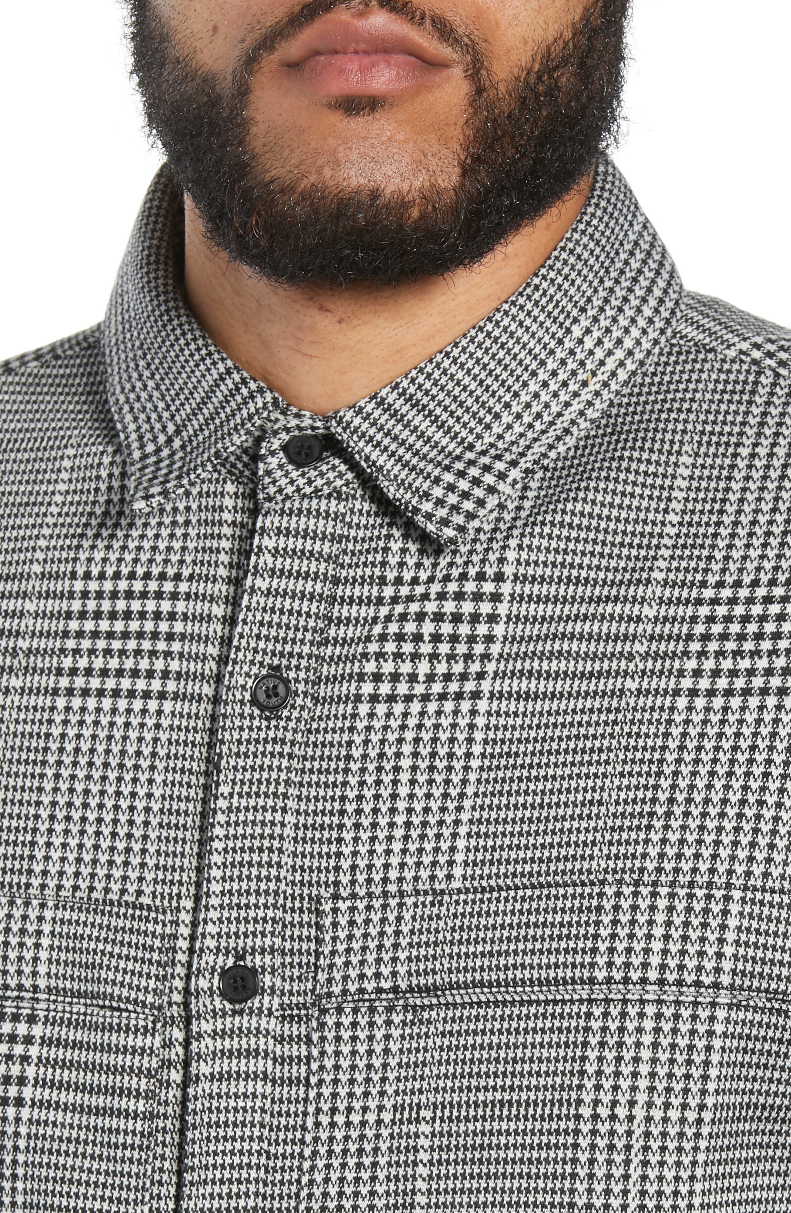Houndstooth Check Overshirt,                             Alternate thumbnail 4, color,                             BLACK