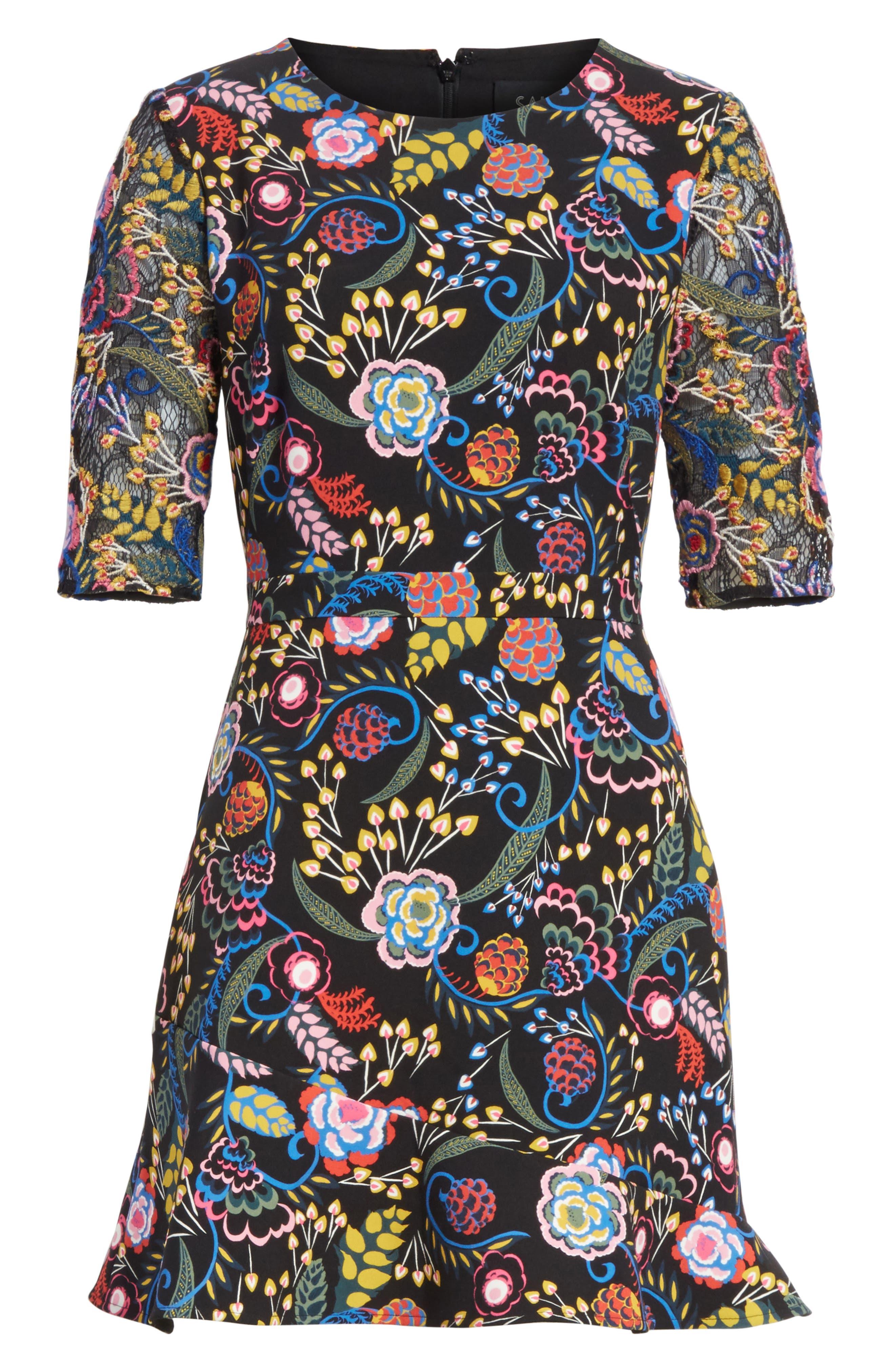 Celia Floral Print Dress,                             Alternate thumbnail 6, color,                             005