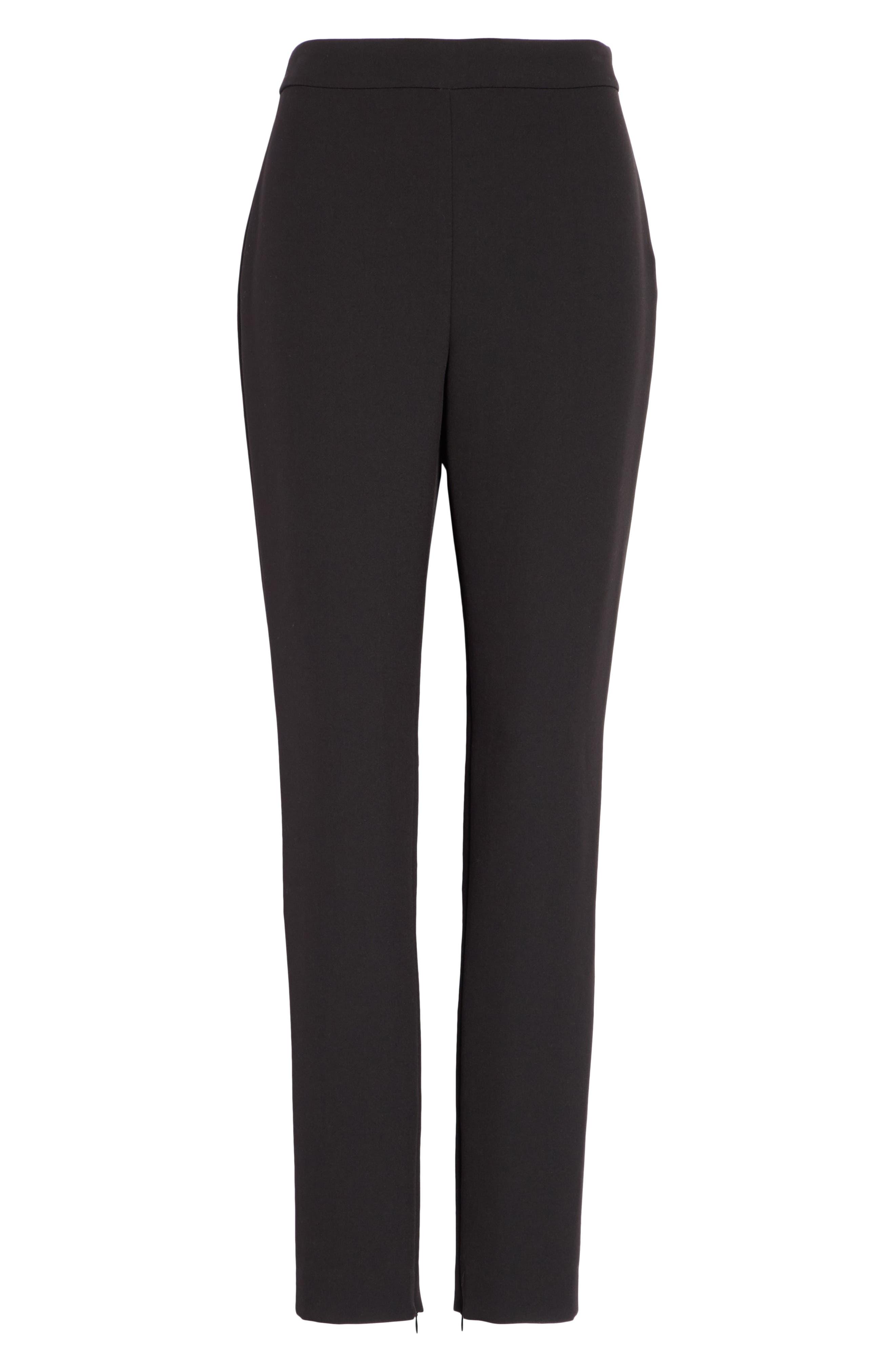 Bella Double Weave Skinny Pants,                             Alternate thumbnail 7, color,                             CAVIAR