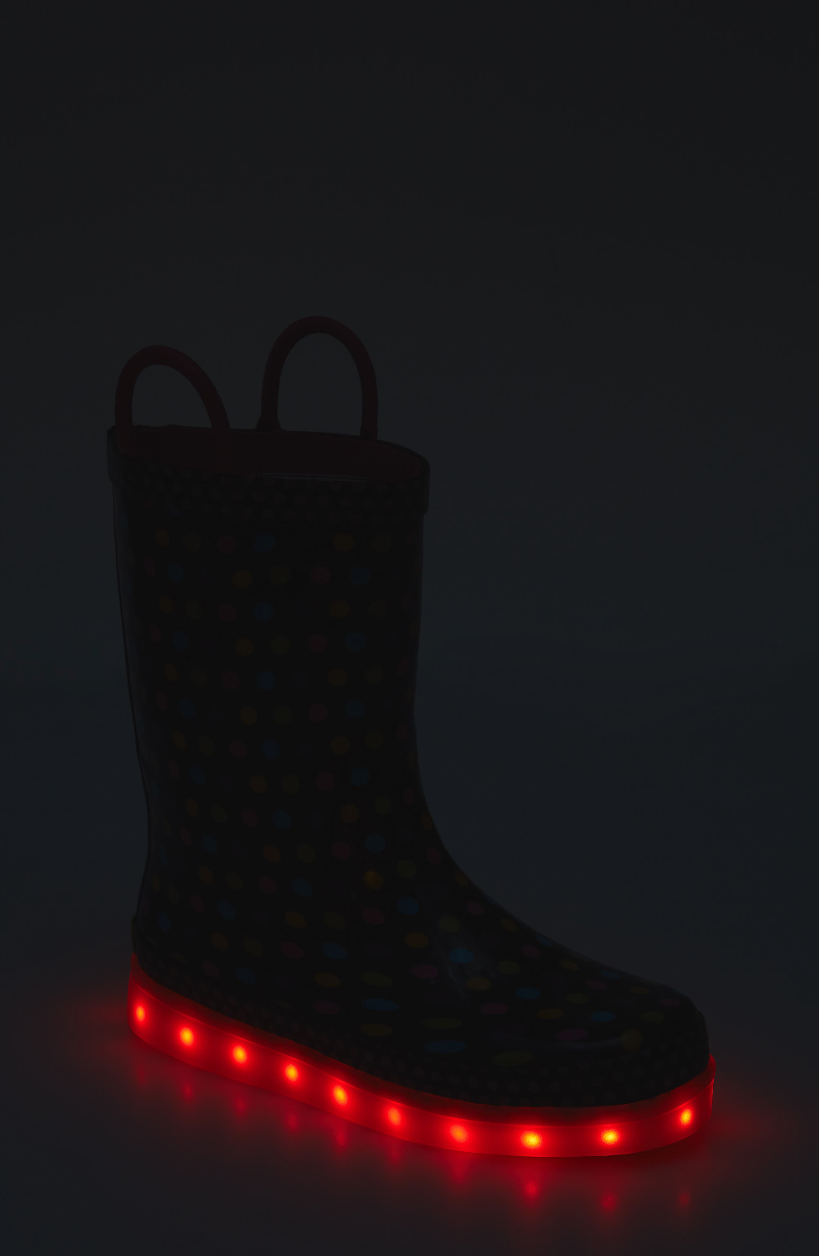 Digital Diva Dot LED Rain Boot,                             Alternate thumbnail 7, color,                             001