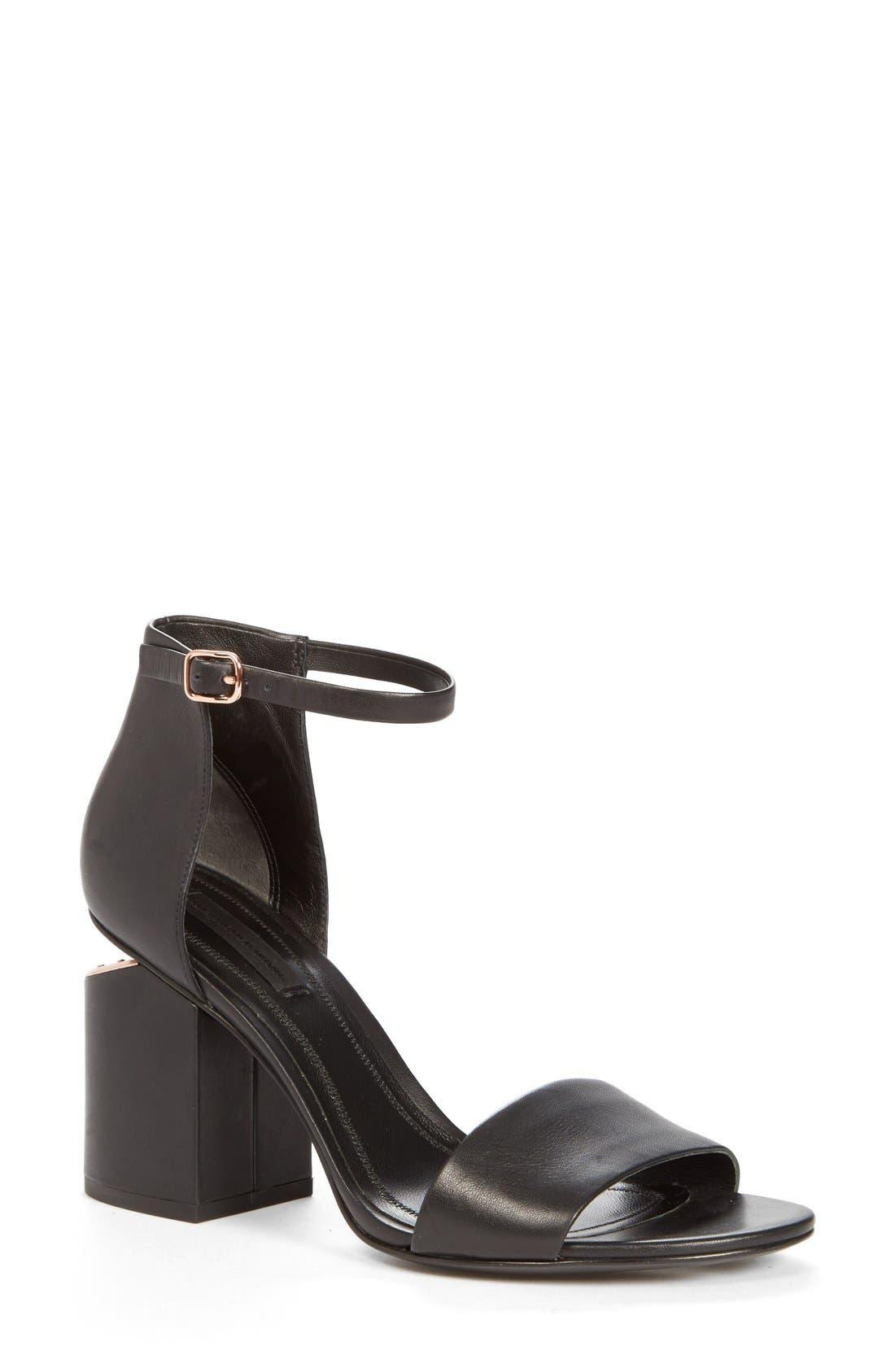 'Abby' Ankle Strap Sandal,                         Main,                         color, BLACK/ ROSE GOLD