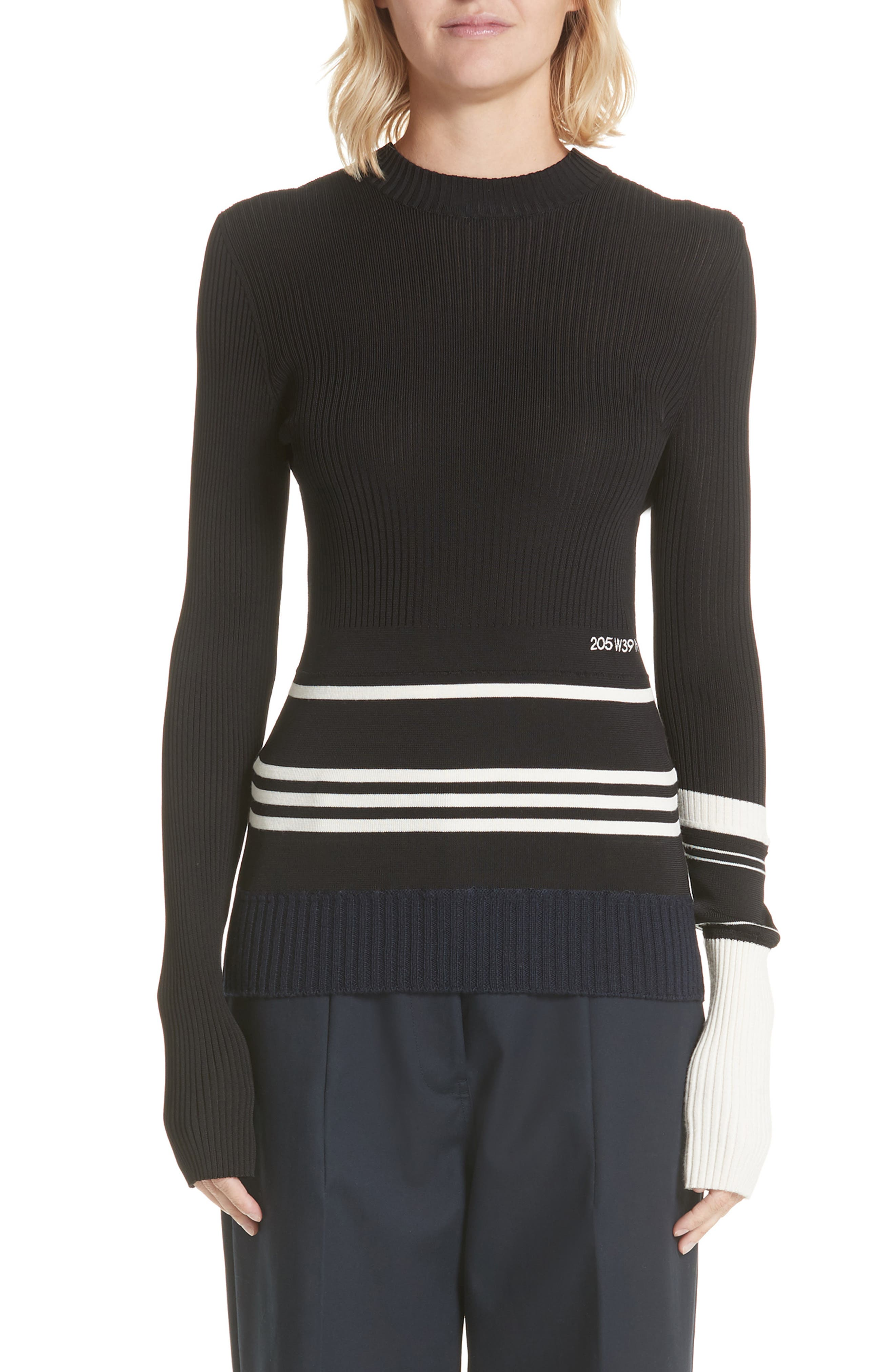 Varsity Stripe Colorblock Sweater,                         Main,                         color, BLACK IVORY NAVY