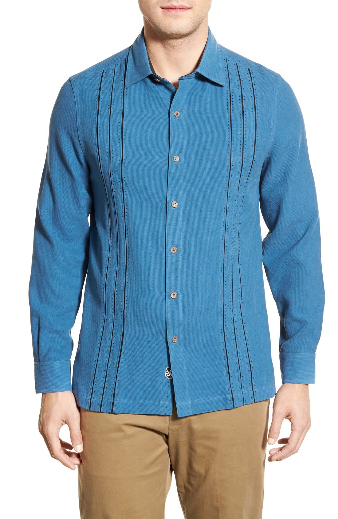 'Weber' Regular Fit Long Sleeve Silk & Cotton Sport Shirt,                             Main thumbnail 1, color,                             433