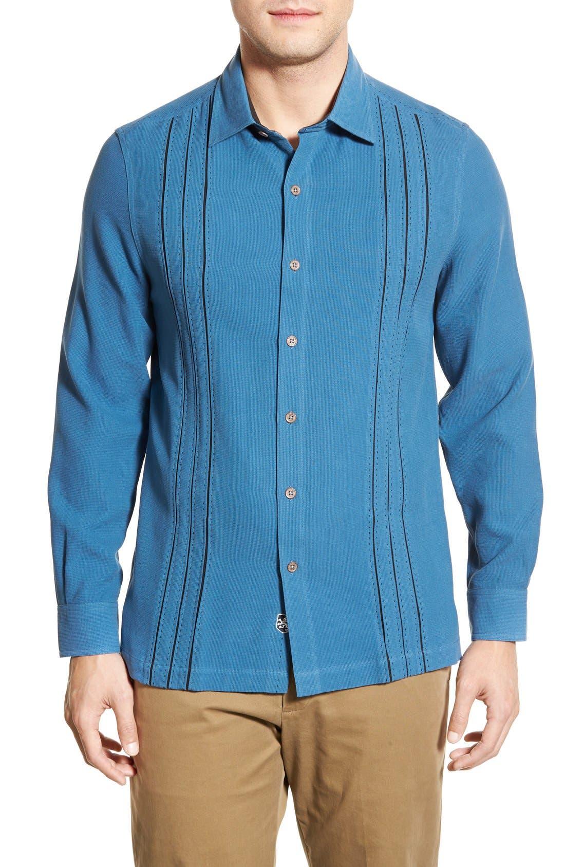 'Weber' Regular Fit Long Sleeve Silk & Cotton Sport Shirt, Main, color, 433