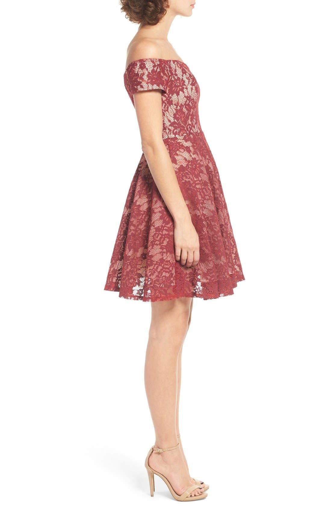 Lace Off the Shoulder Fit & Flare Dress,                             Alternate thumbnail 19, color,