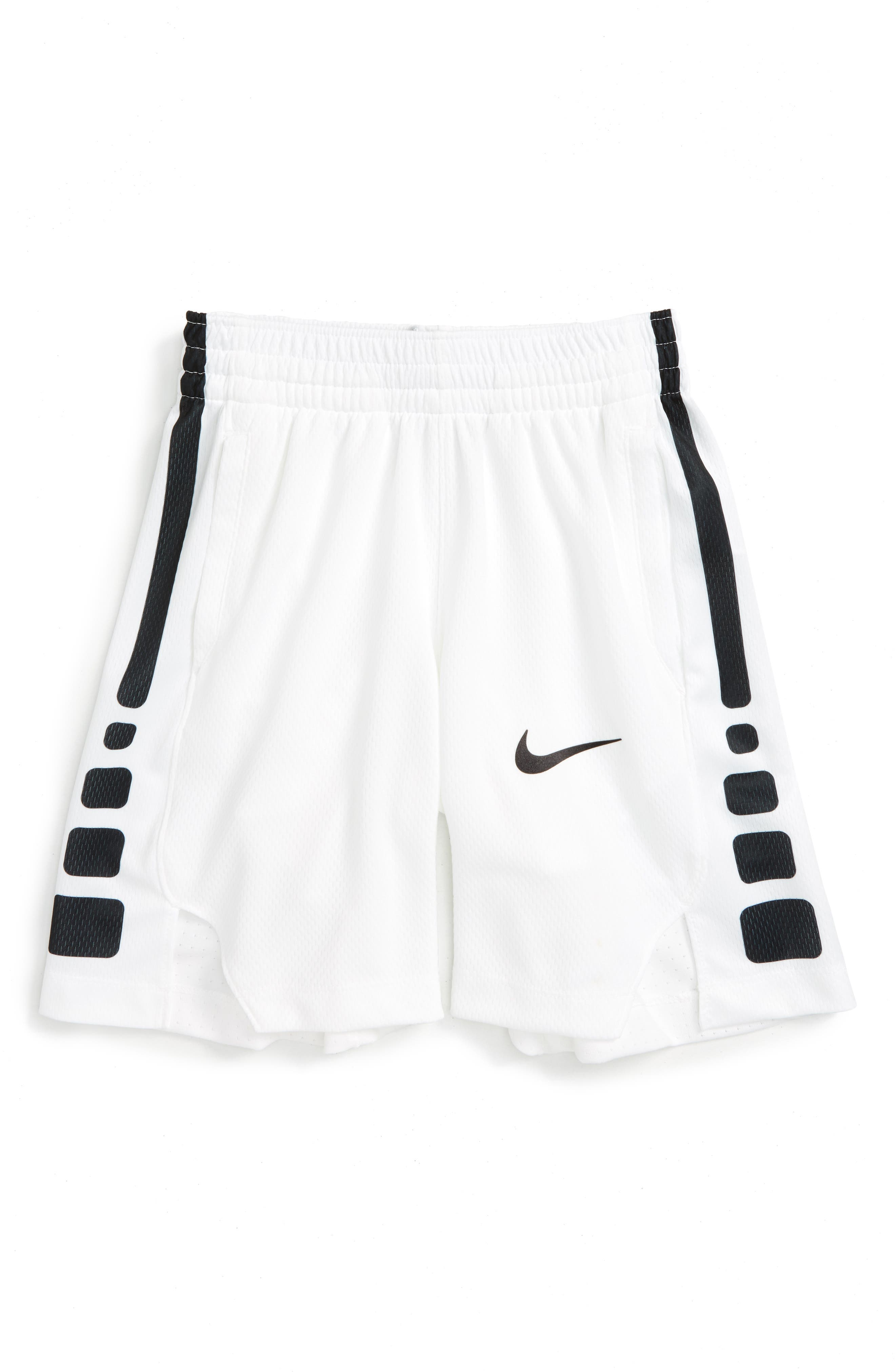 Dry Elite Basketball Shorts,                         Main,                         color, WHITEW/ BLACK