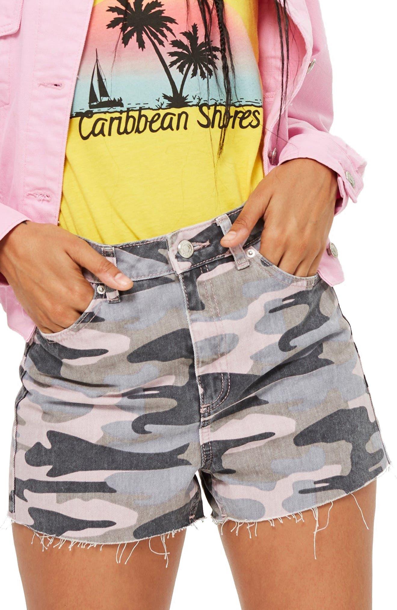 MOTO Fray Hem High Waist Shorts,                             Main thumbnail 1, color,                             PINK MULTI