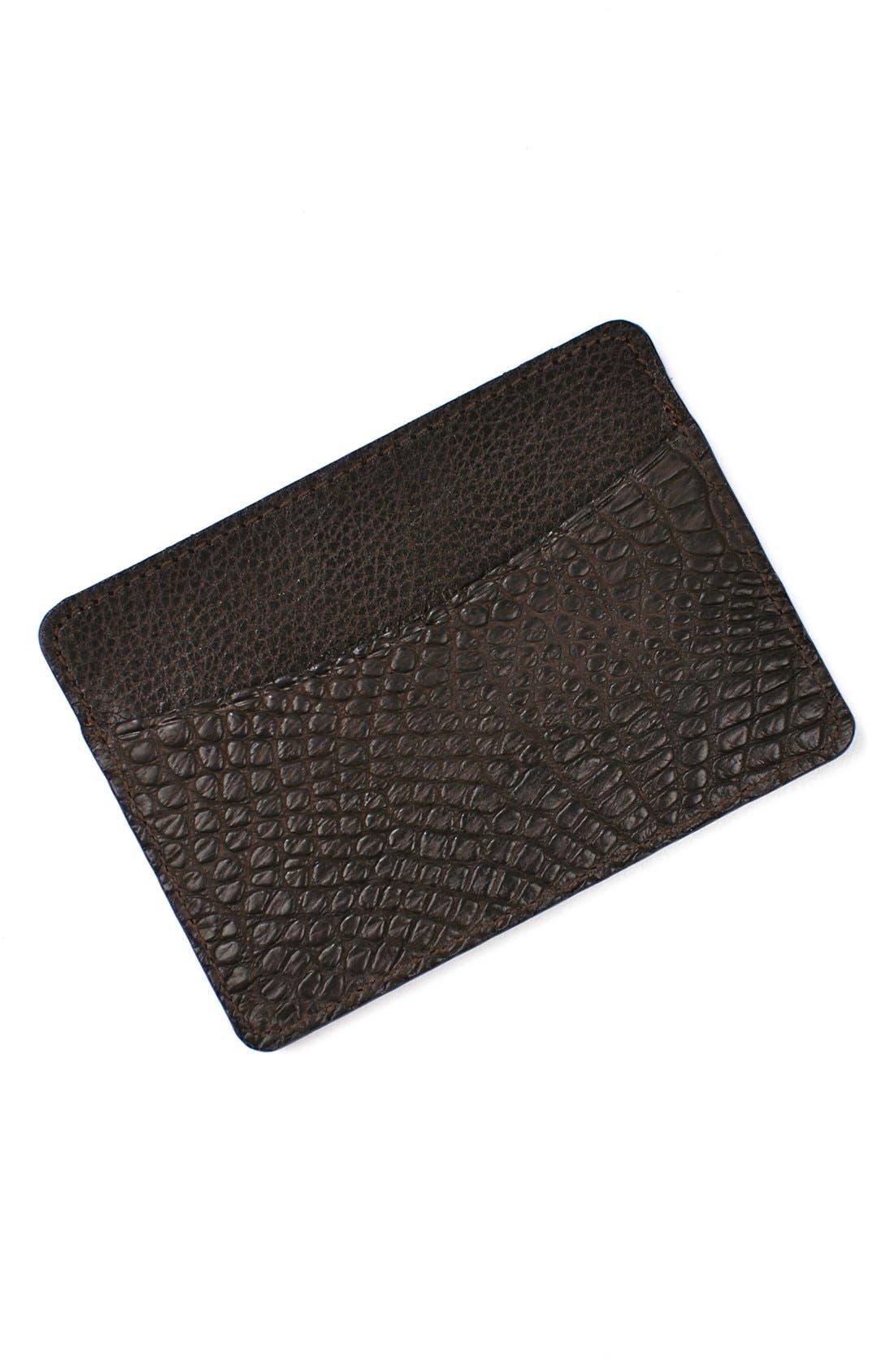 'Jameson' Matte Finish Genuine Alligator Leather Card Case,                             Alternate thumbnail 2, color,                             WALNUT