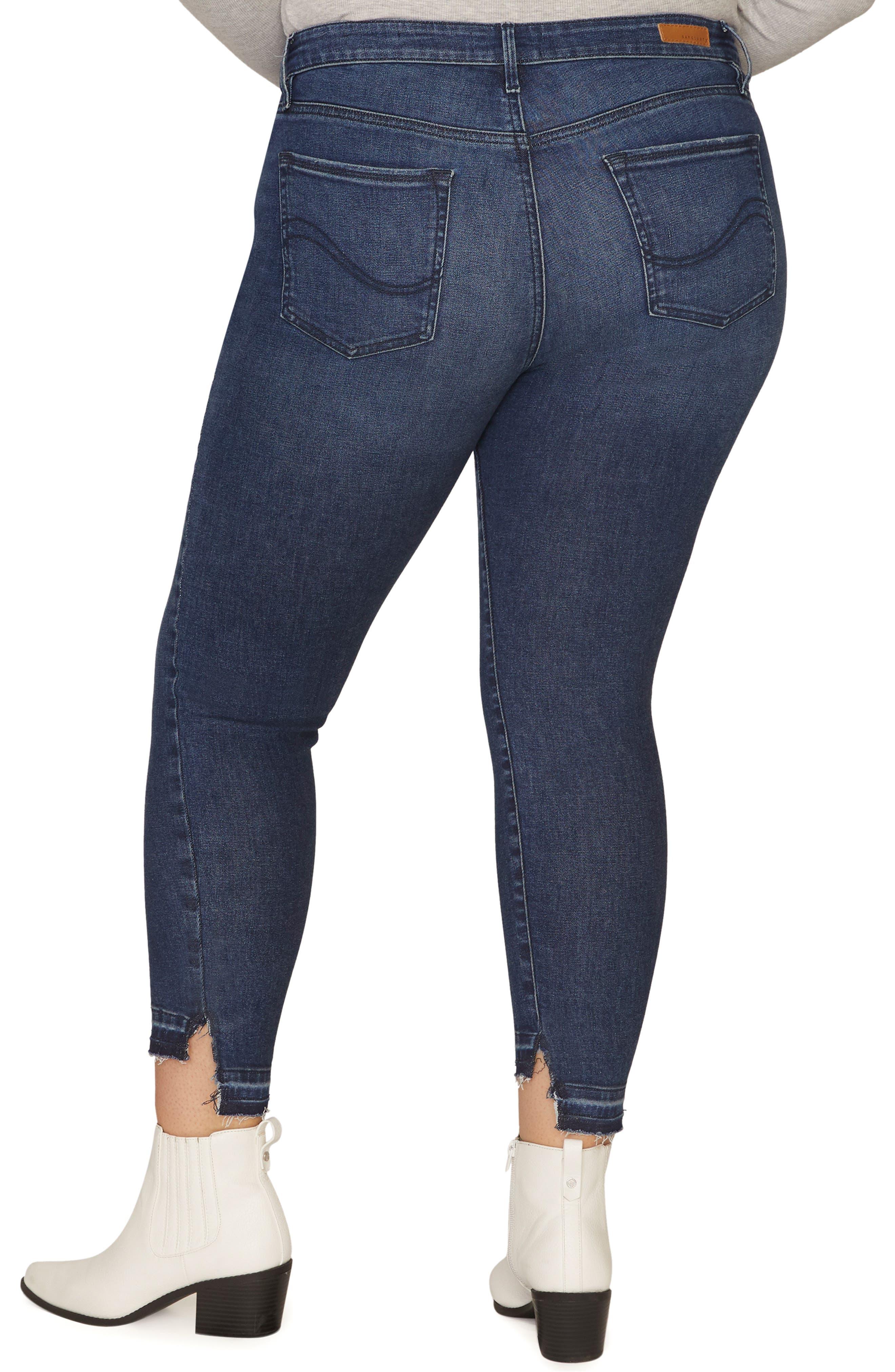 Social Standard Release Hem Ankle Skinny Jeans,                             Alternate thumbnail 3, color,                             ELYSIAN BLUE