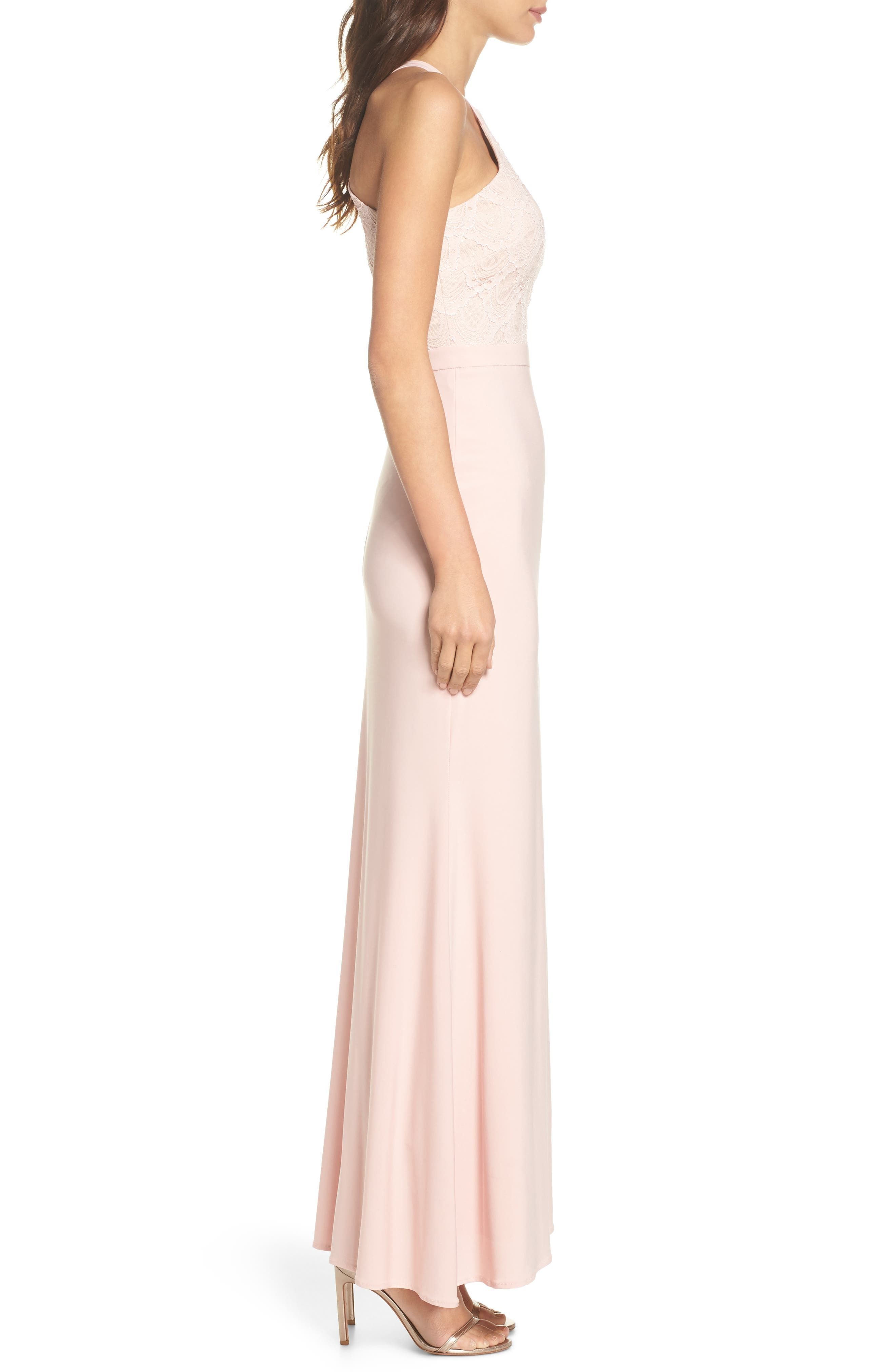 Lace Cutaway Bodice Gown,                             Alternate thumbnail 3, color,                             BLUSH / NUDE