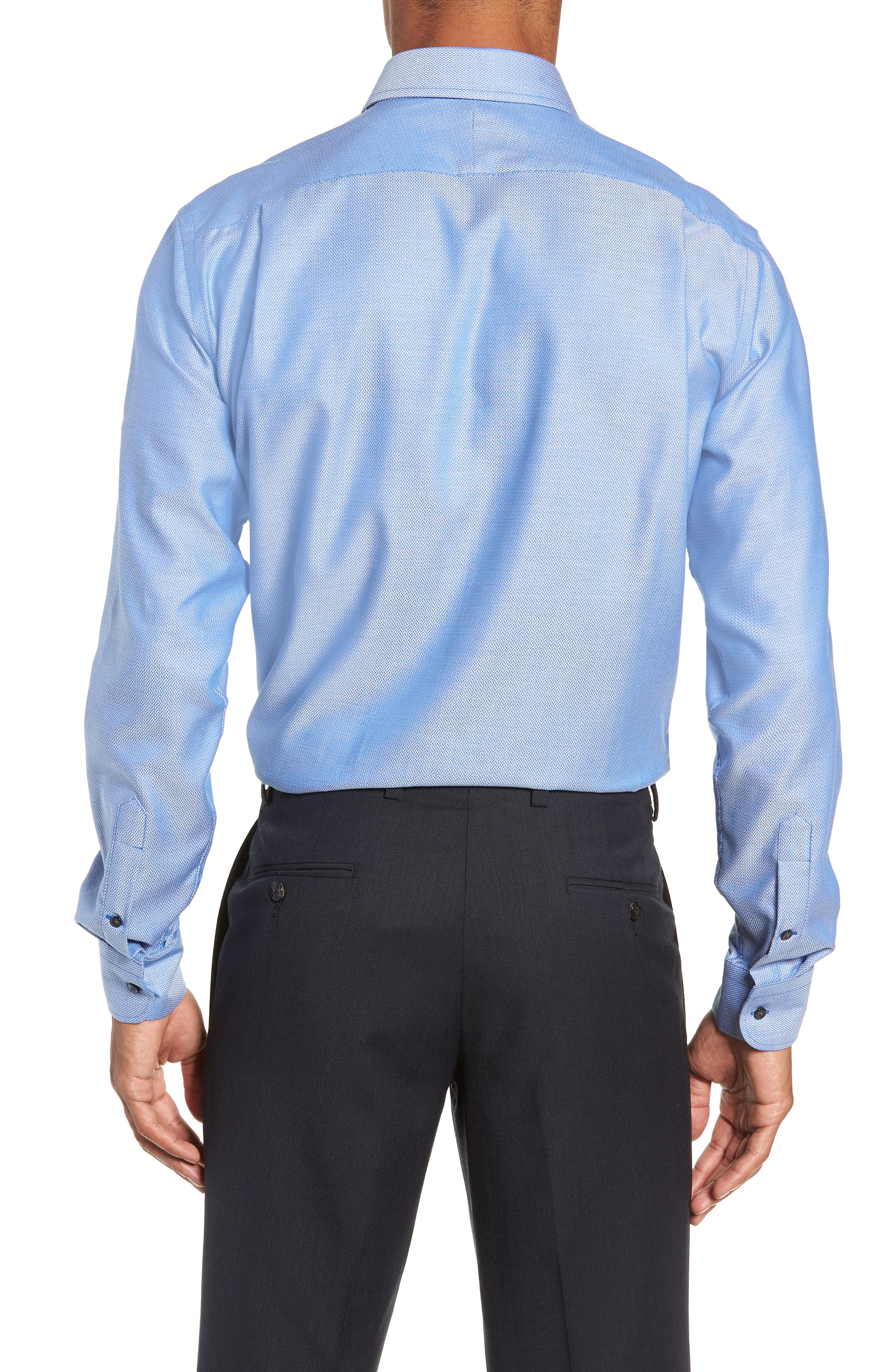 Trim Fit No-Iron Geometric Dress Shirt,                             Alternate thumbnail 3, color,                             BLUE CAMP