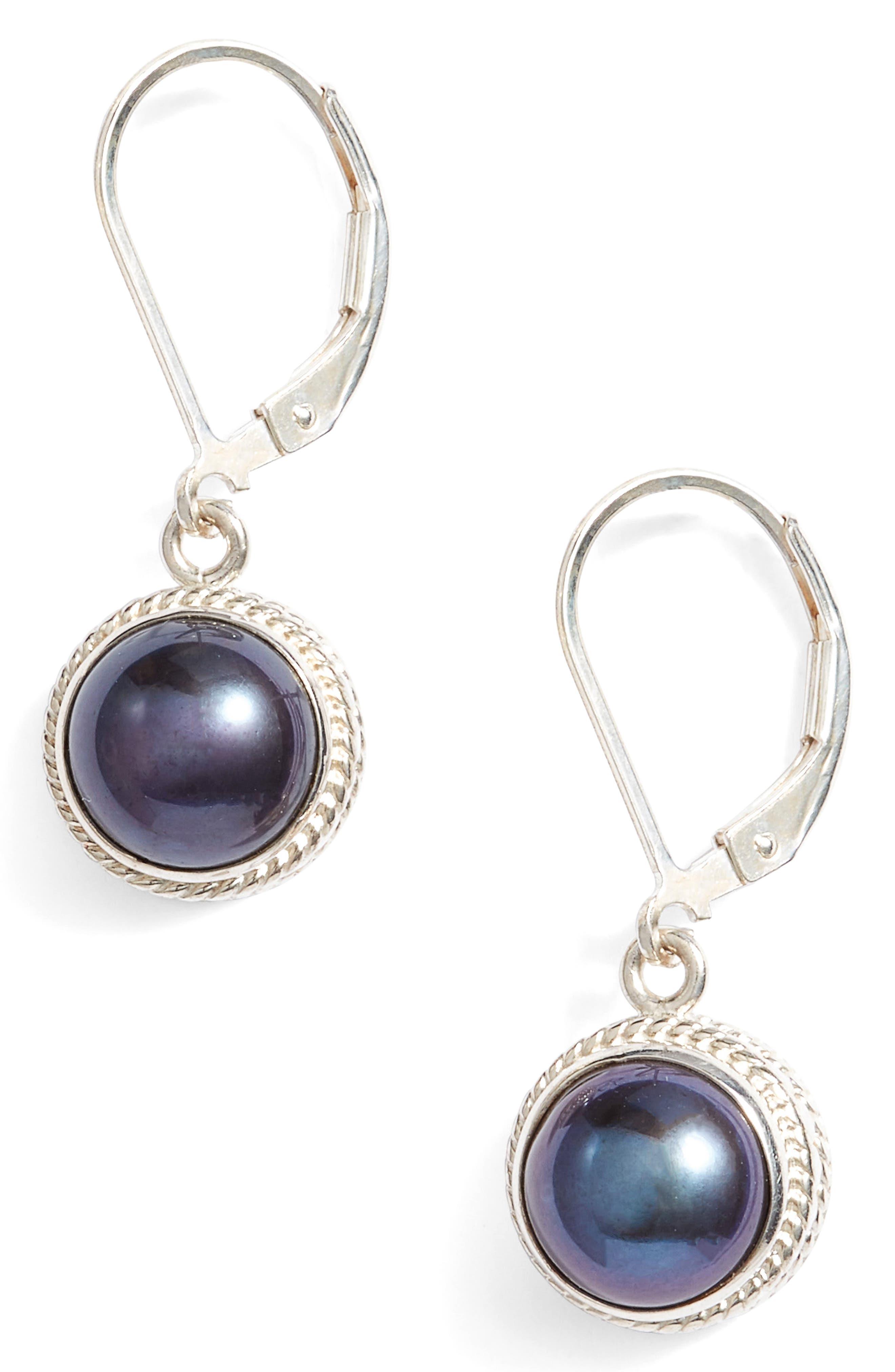 Genuine Blue Pearl Drop Earrings,                             Main thumbnail 2, color,