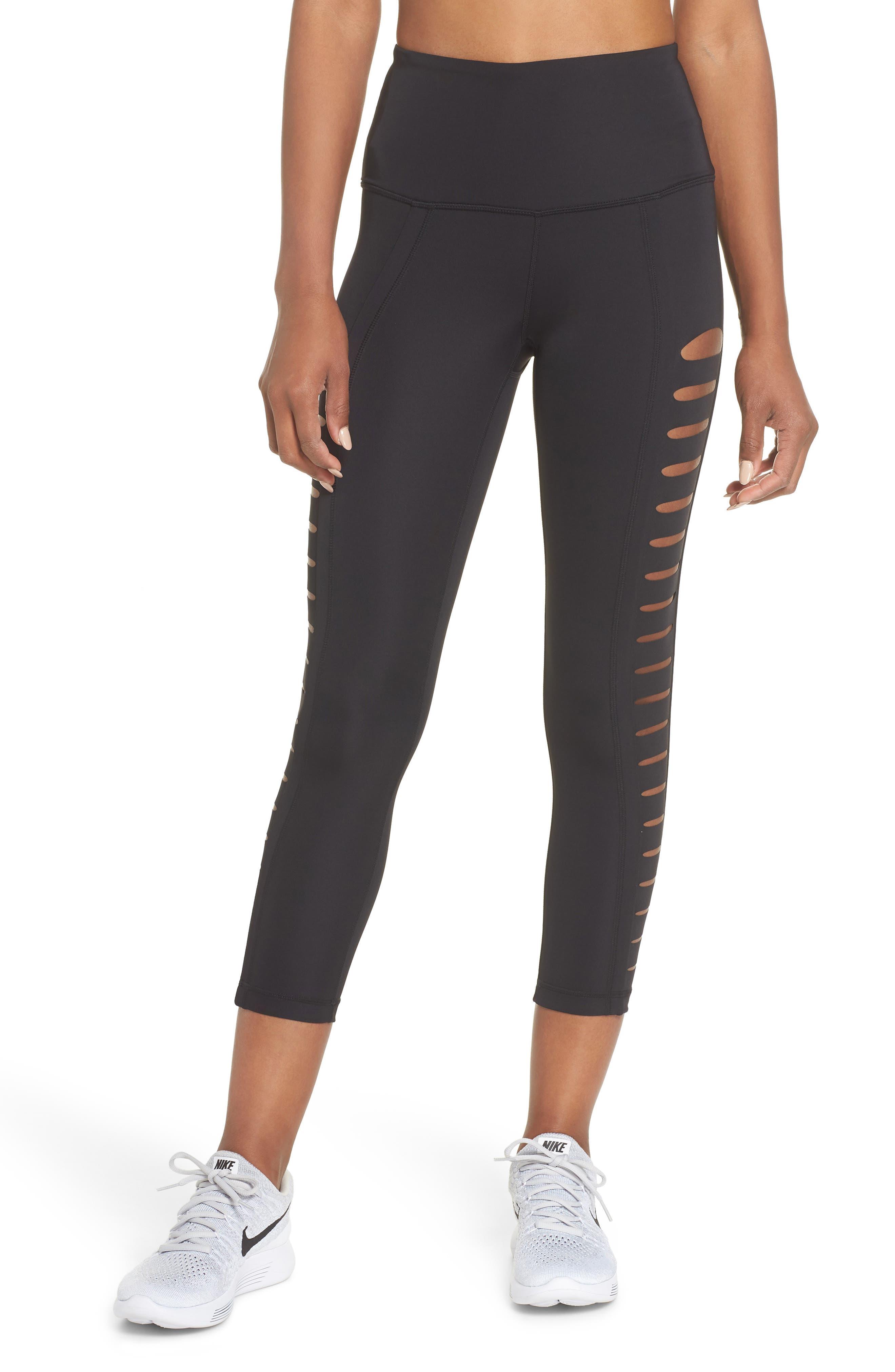 Intrigue High Waist Crop Leggings,                         Main,                         color, BLACK
