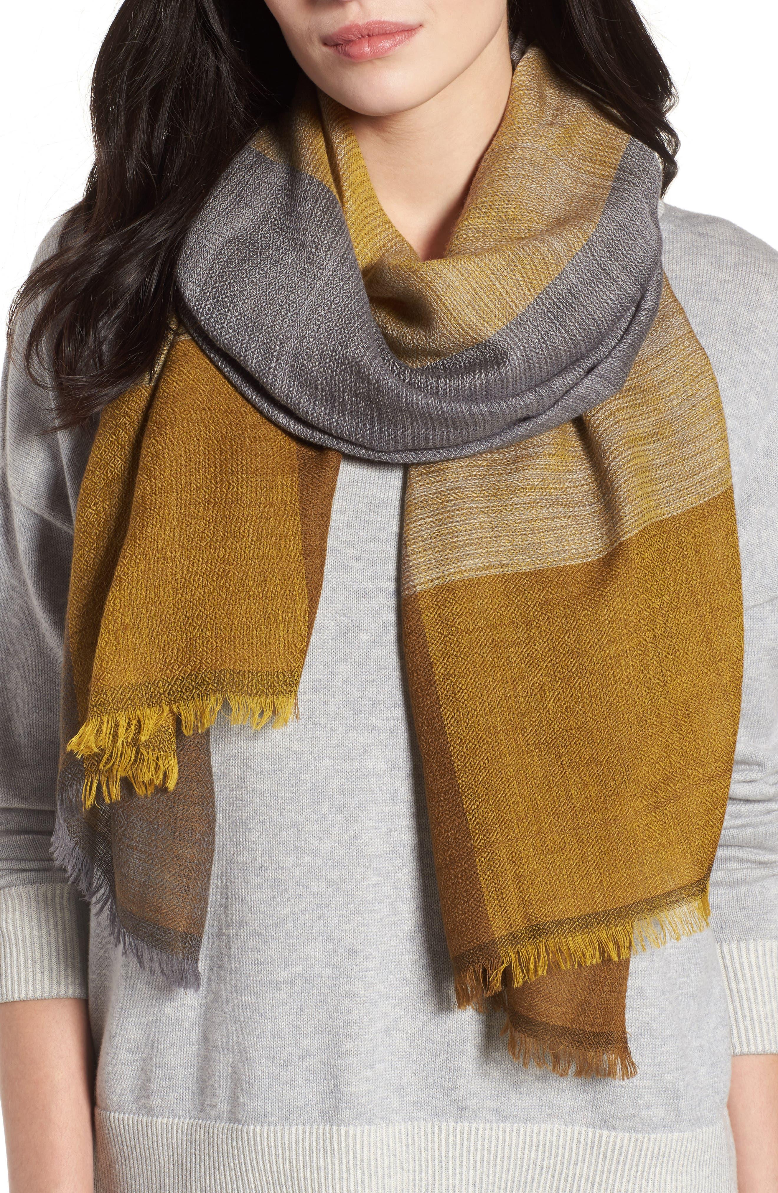 Colorblock Wool & Silk Scarf,                             Main thumbnail 3, color,
