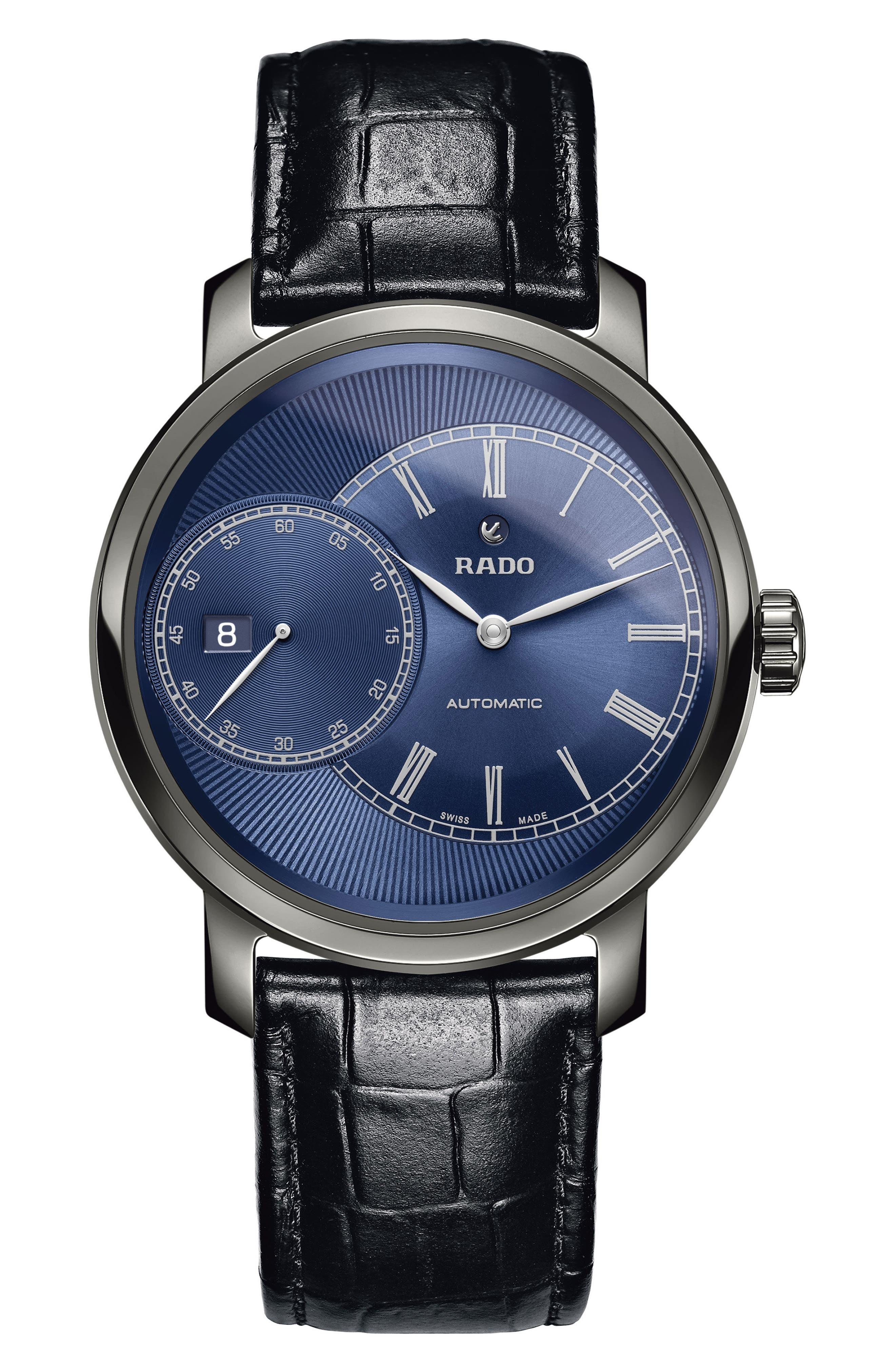 DiaMaster Grande Seconde Automatic Leather Strap Watch, 43mm,                         Main,                         color, BLACK/ BLUE/ GUNMETAL