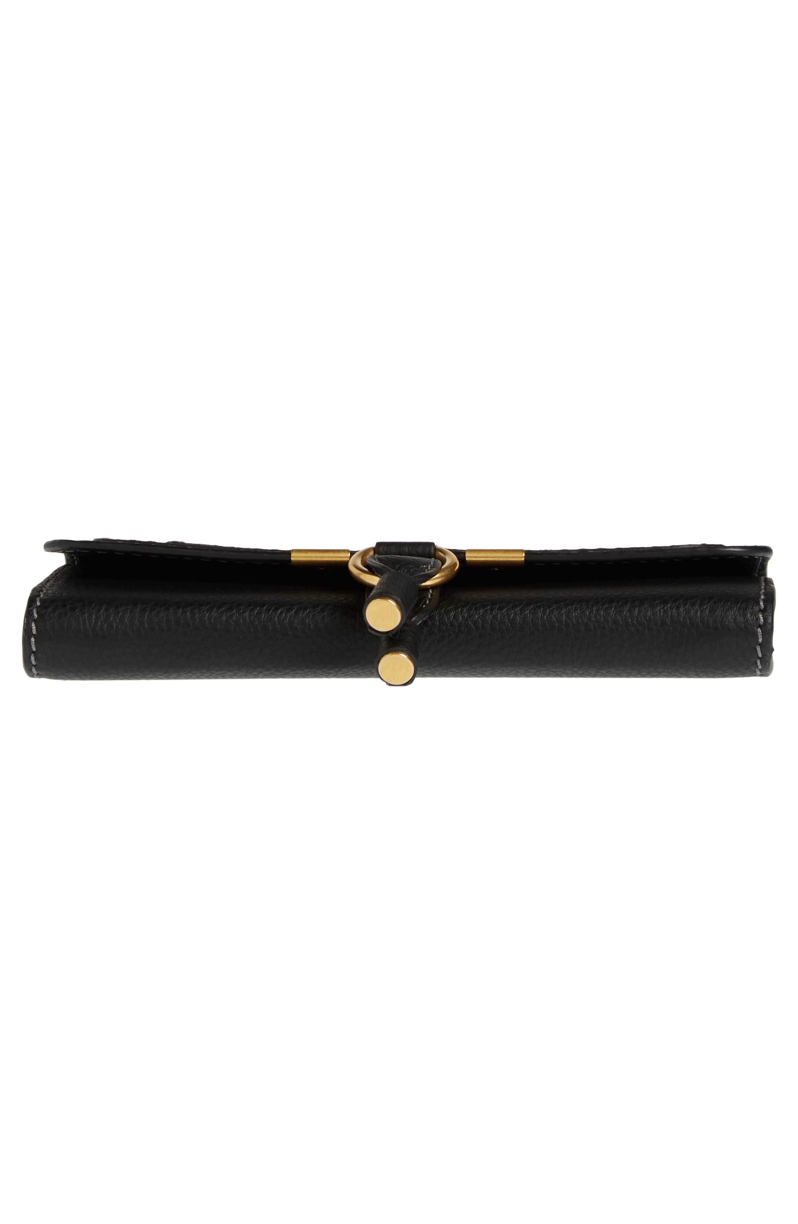 Marcie - Long Leather Flap Wallet,                             Alternate thumbnail 6, color,                             BLACK