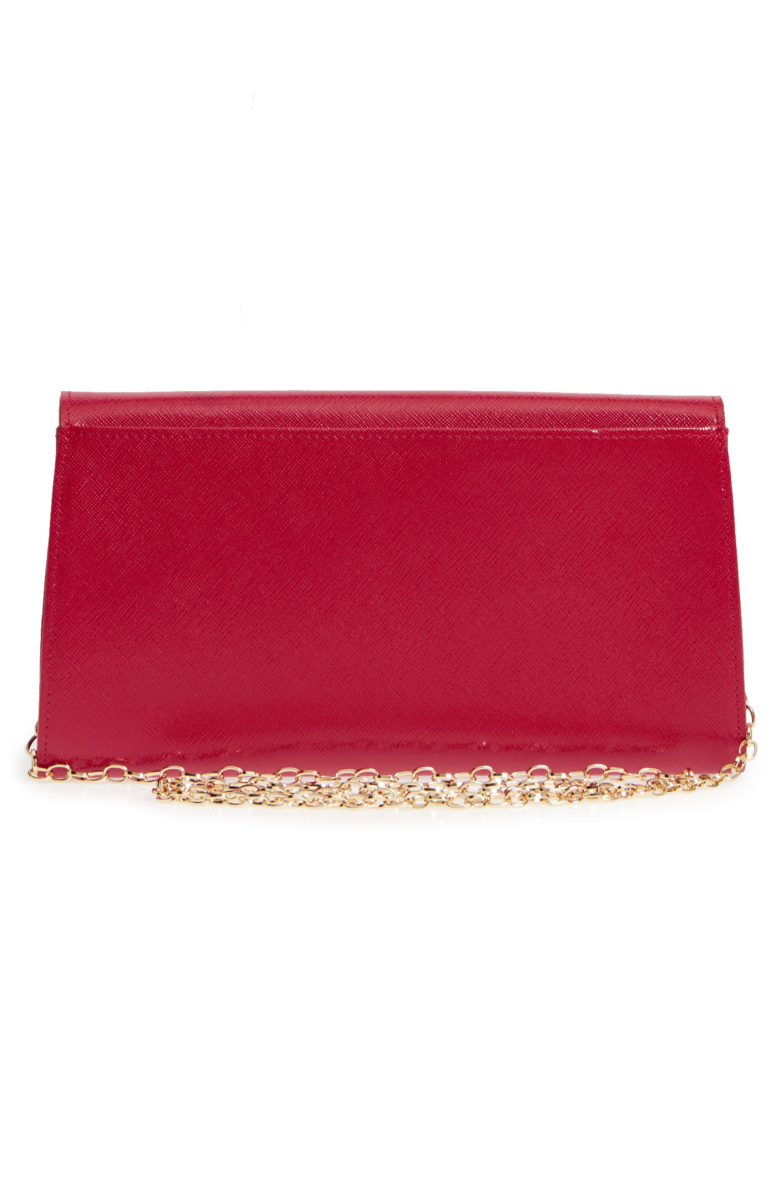 Leather Clutch,                             Alternate thumbnail 3, color,                             RED JESTER