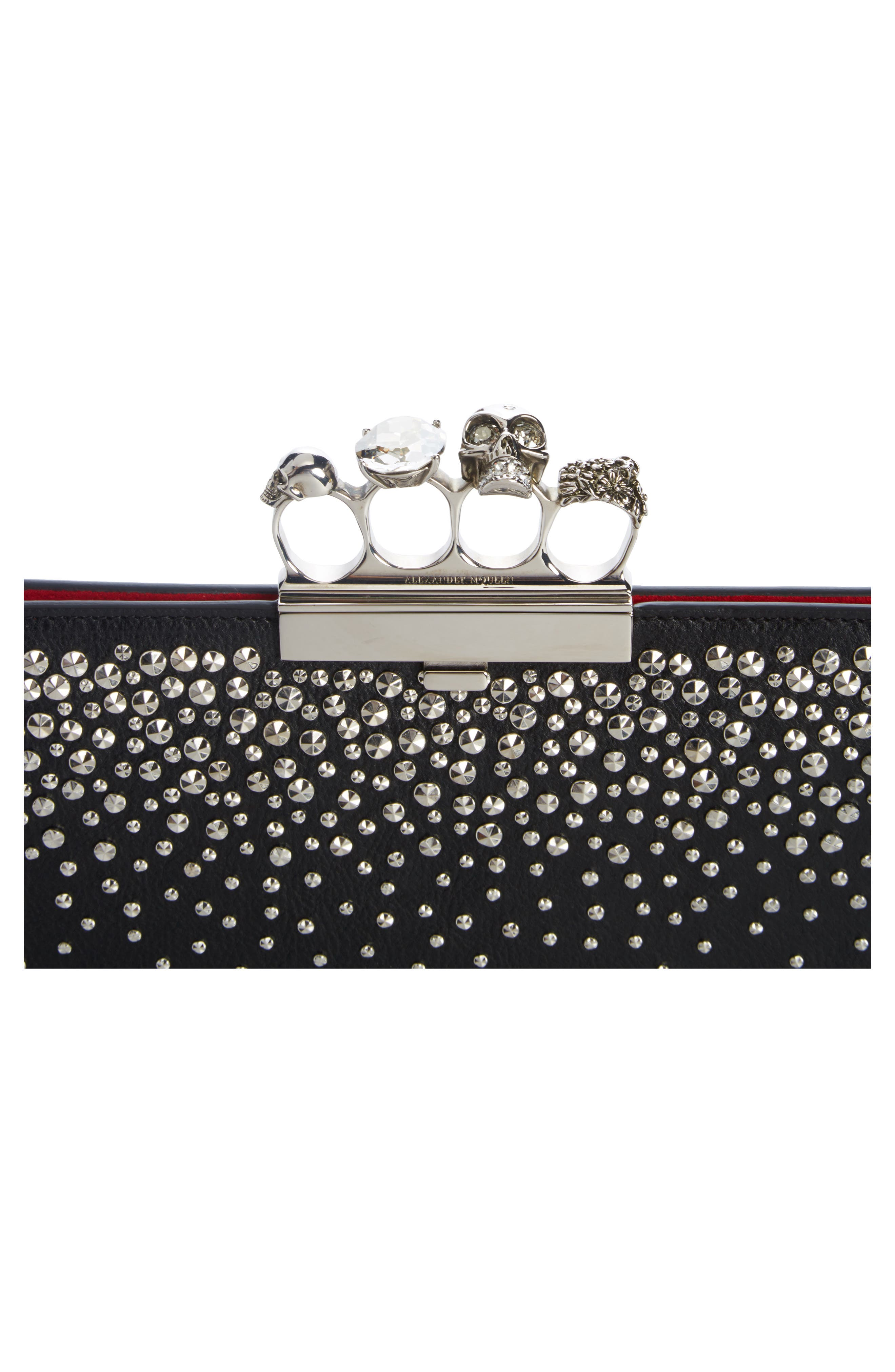 Studded Knuckle Clasp Leather Clutch,                             Alternate thumbnail 7, color,
