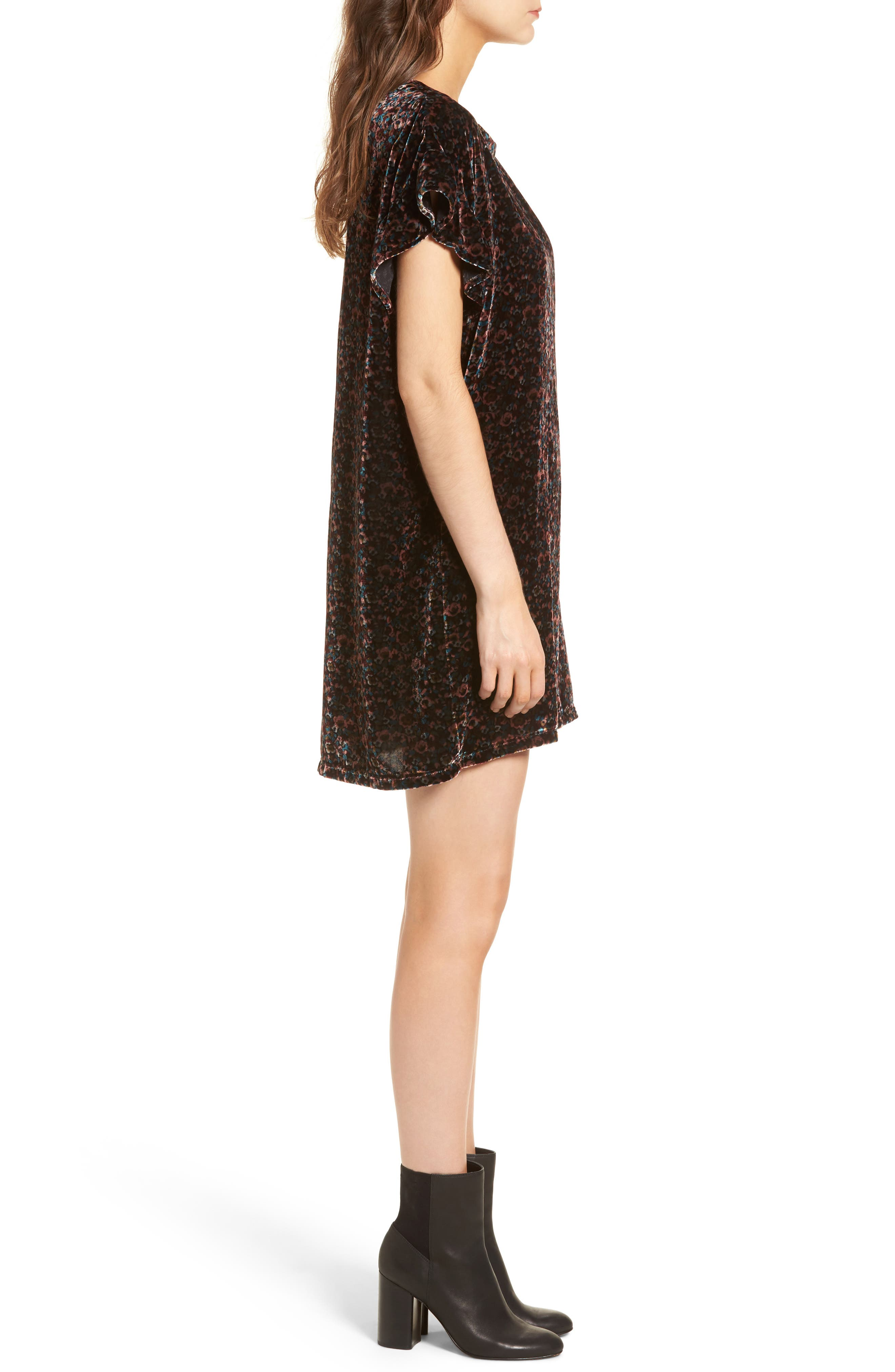 The Janie Velvet Shift Dress,                             Alternate thumbnail 3, color,                             005