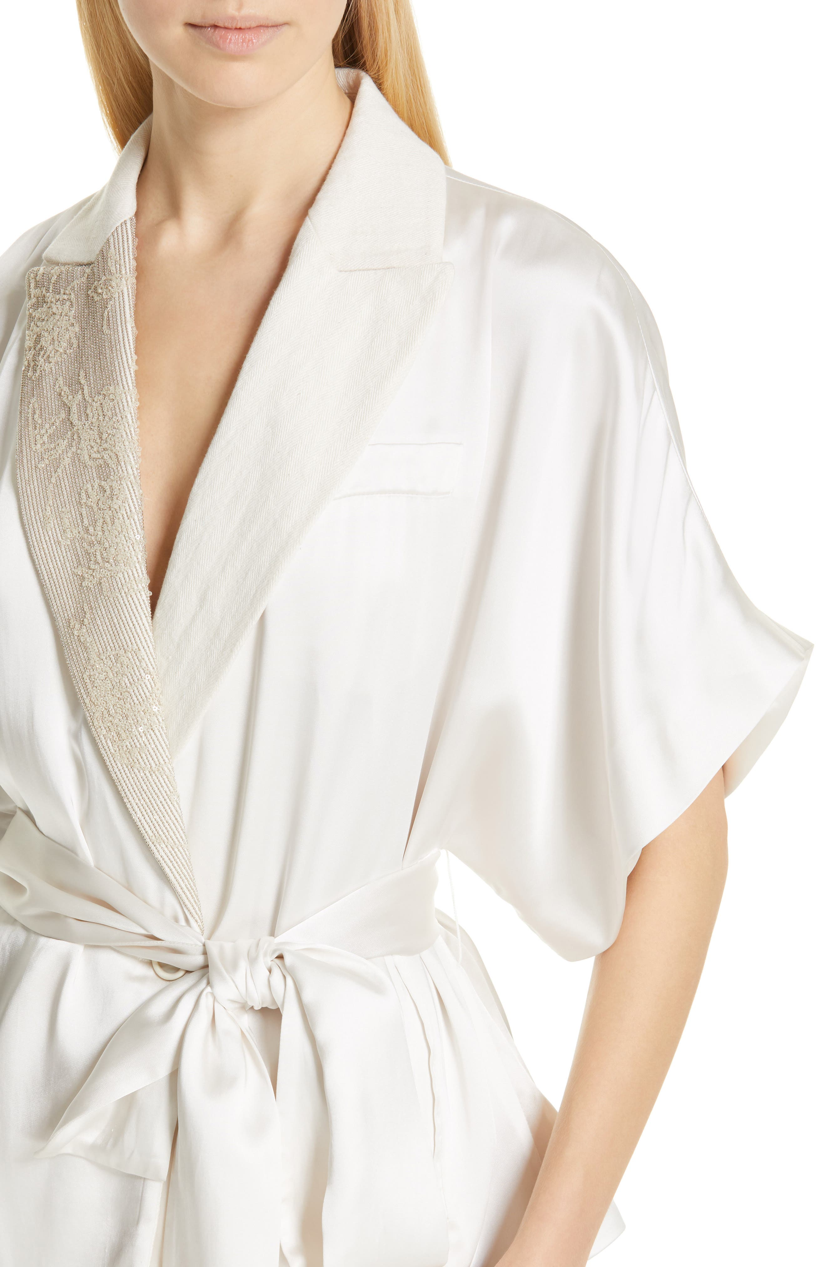 BRUNELLO CUCINELLI,                             Embellished Lapel Satin Kimono Jacket,                             Alternate thumbnail 4, color,                             BONE
