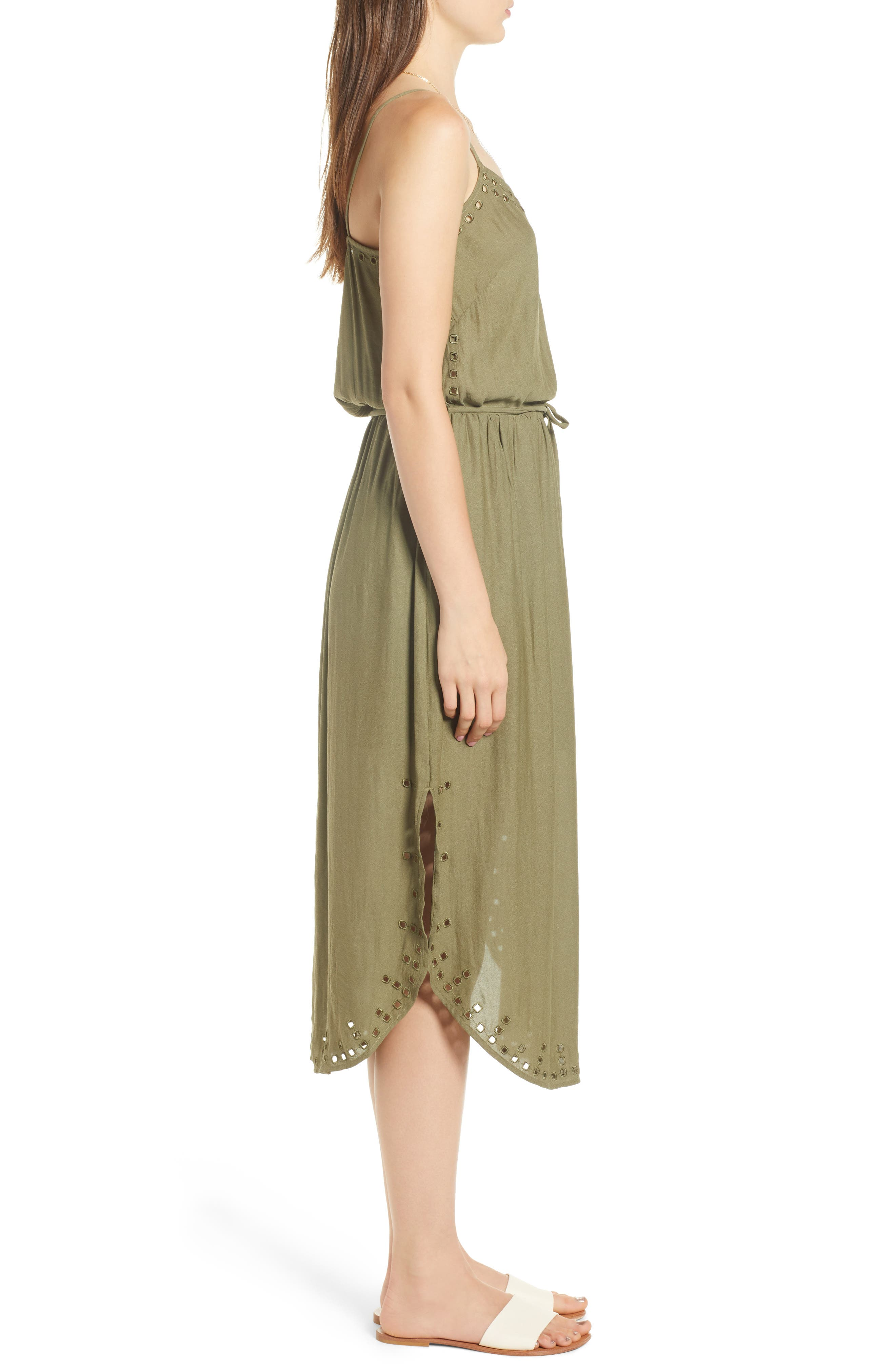 Strappy Cutout Midi Dress,                             Alternate thumbnail 3, color,                             ARMY