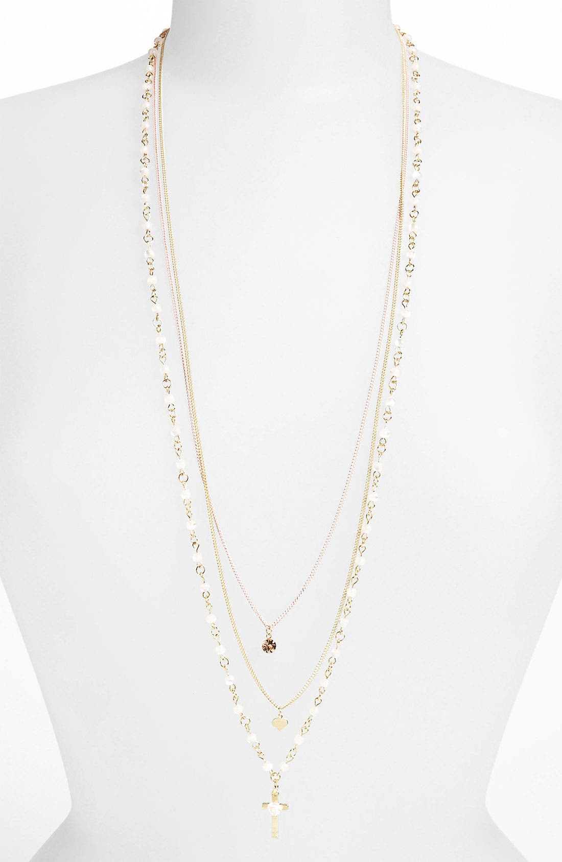 TOPSHOP,                             '3 Row Charm' Multistrand Necklace,                             Main thumbnail 1, color,                             951