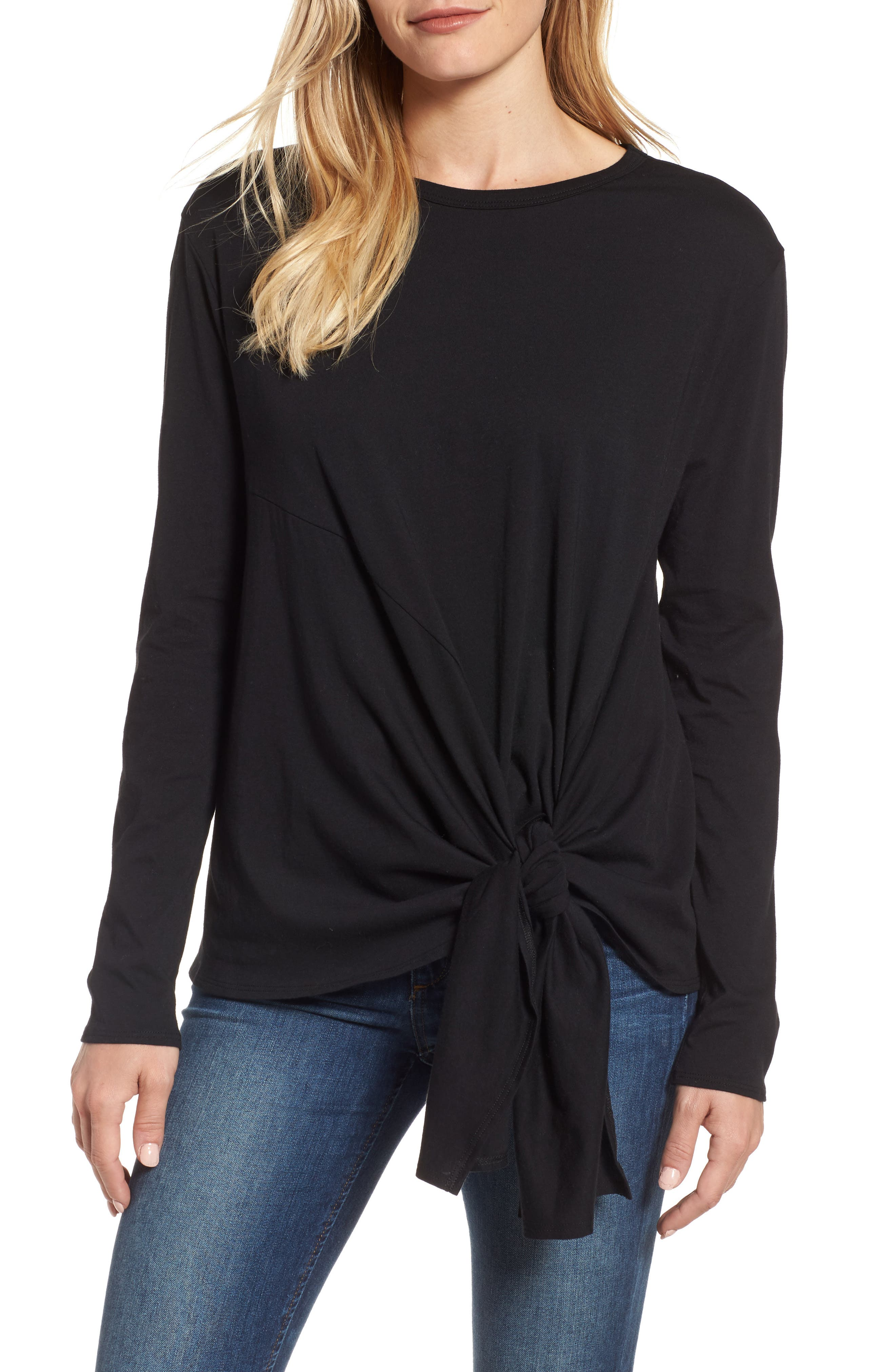 Long Sleeve Side Tie Tee,                             Main thumbnail 1, color,