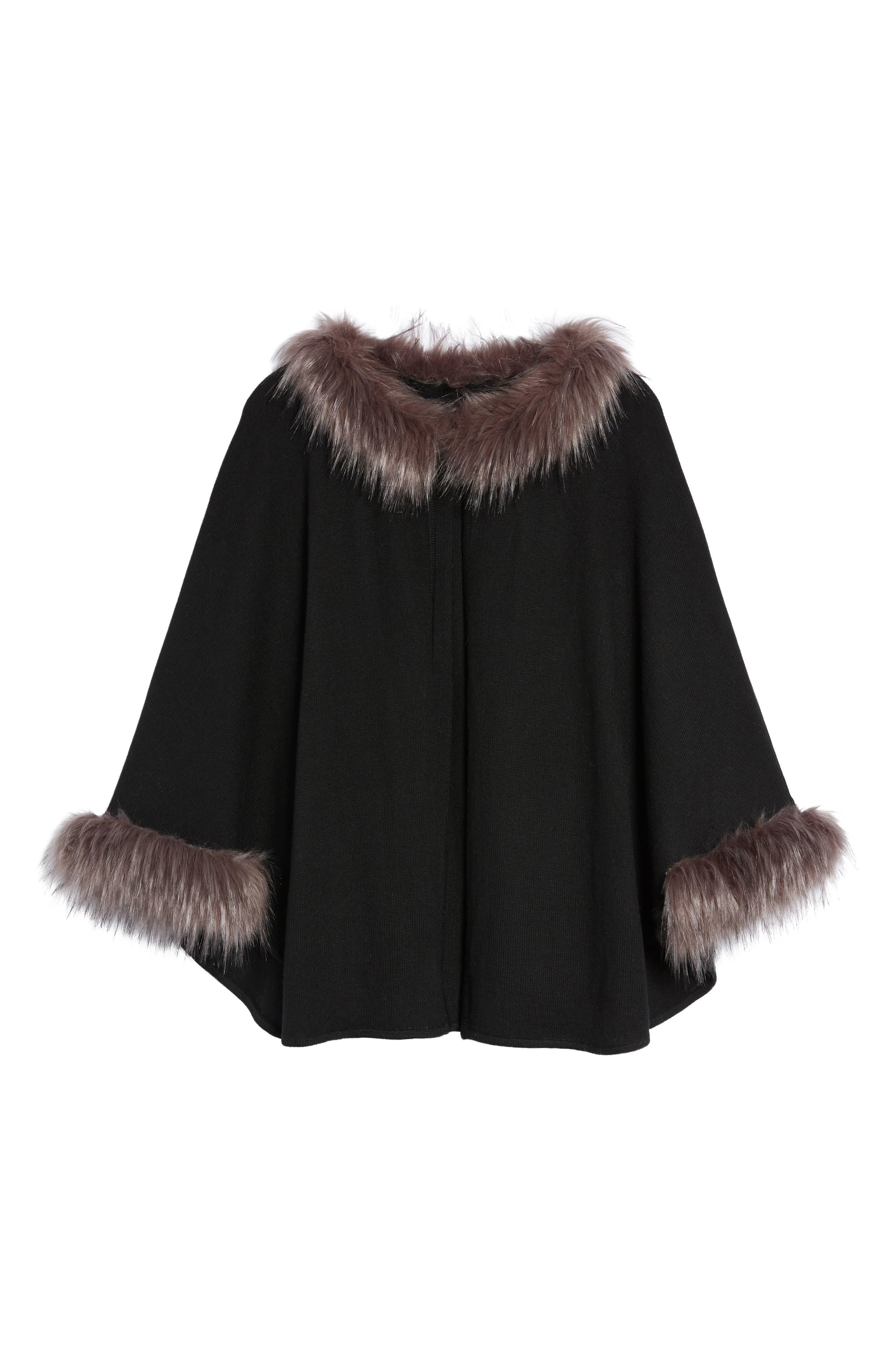 Knit Poncho with Faux Fur Trim,                             Alternate thumbnail 5, color,                             001