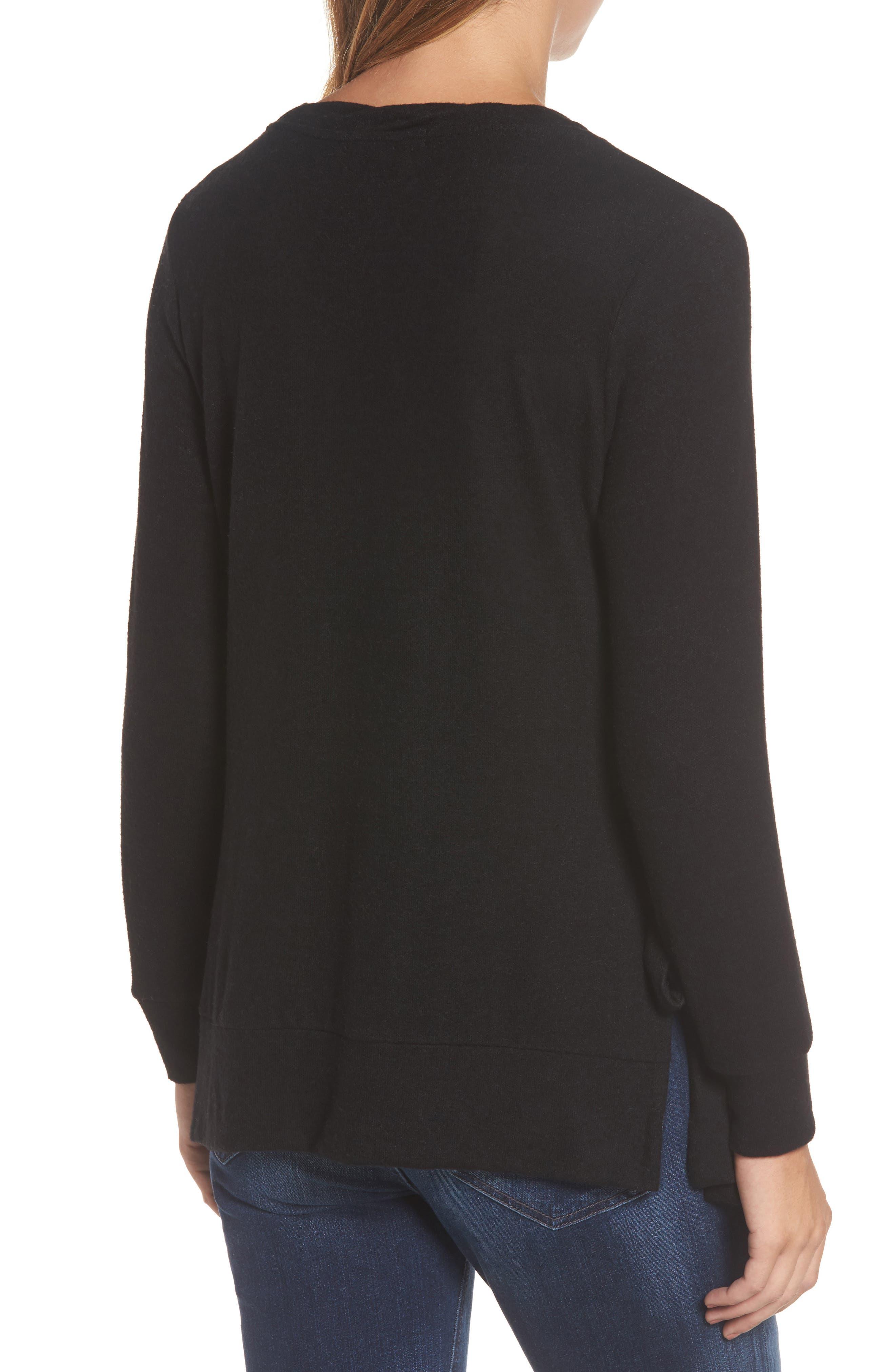 Side-Tie Fleece Pullover,                             Alternate thumbnail 2, color,                             001