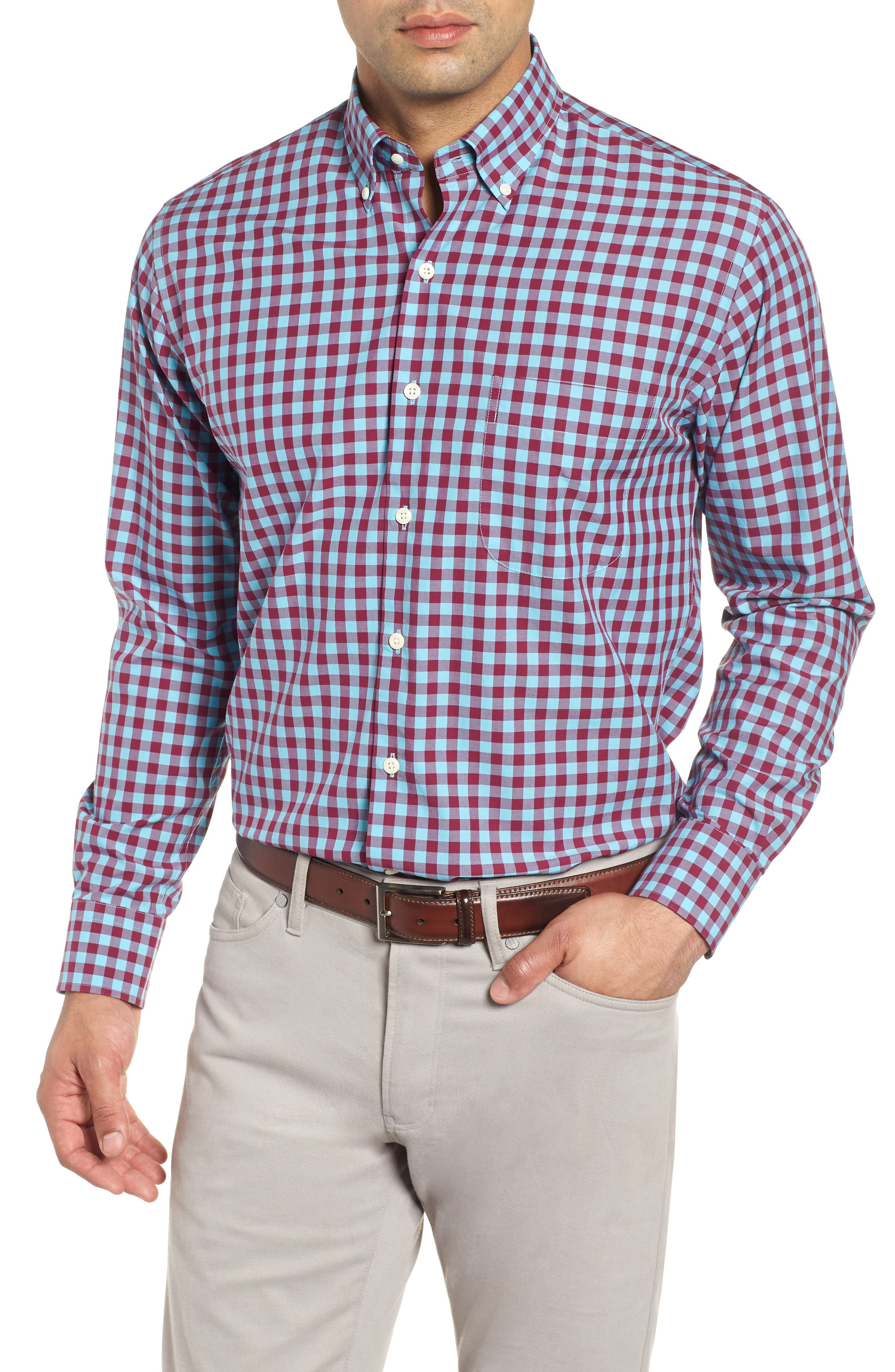 Mont Blanc Gingham Check Sport Shirt,                         Main,                         color, GROTTO BLUE