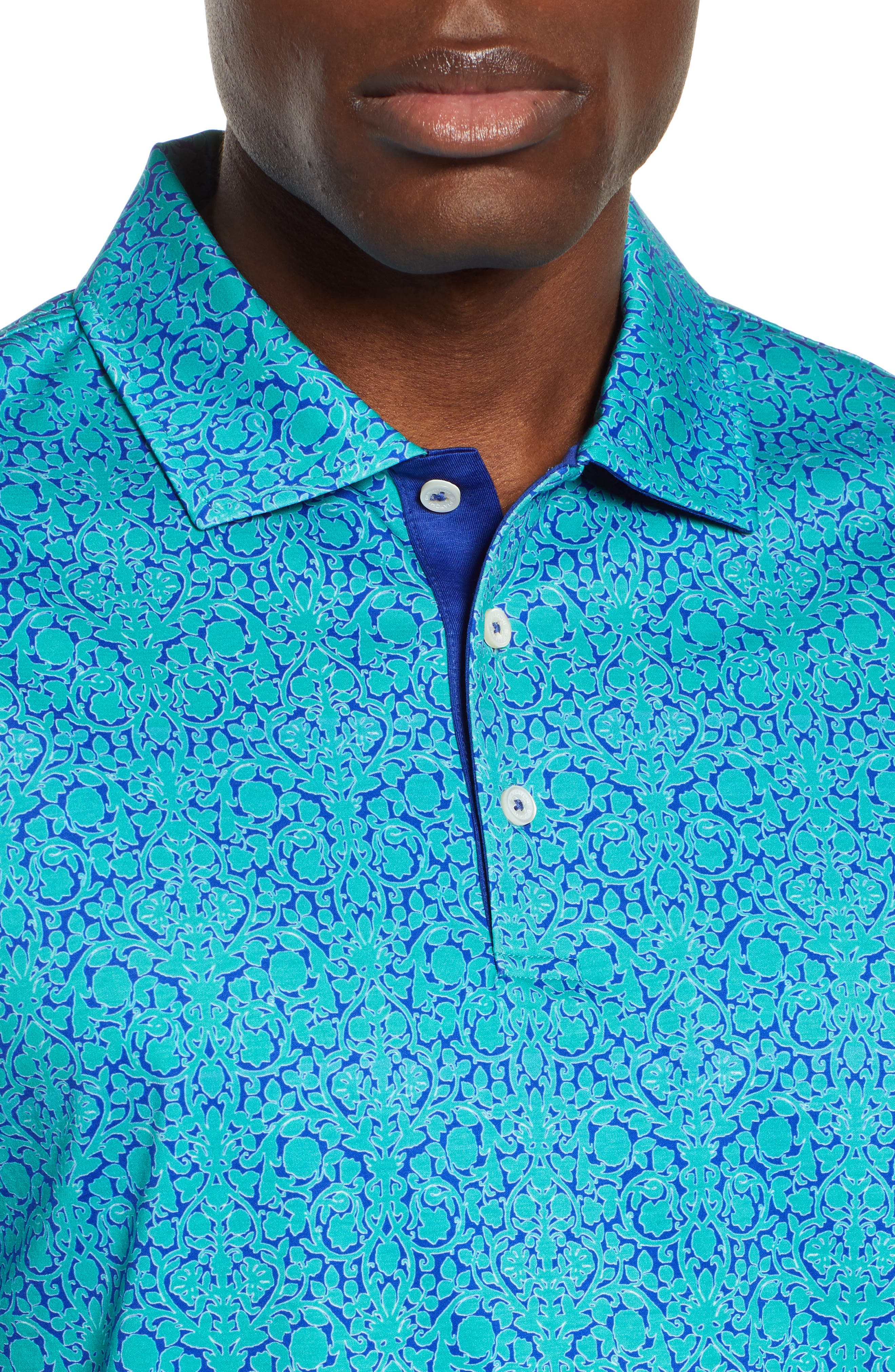 BUGATCHI,                             Regular Fit Digital Print Polo,                             Alternate thumbnail 4, color,                             EMERALD