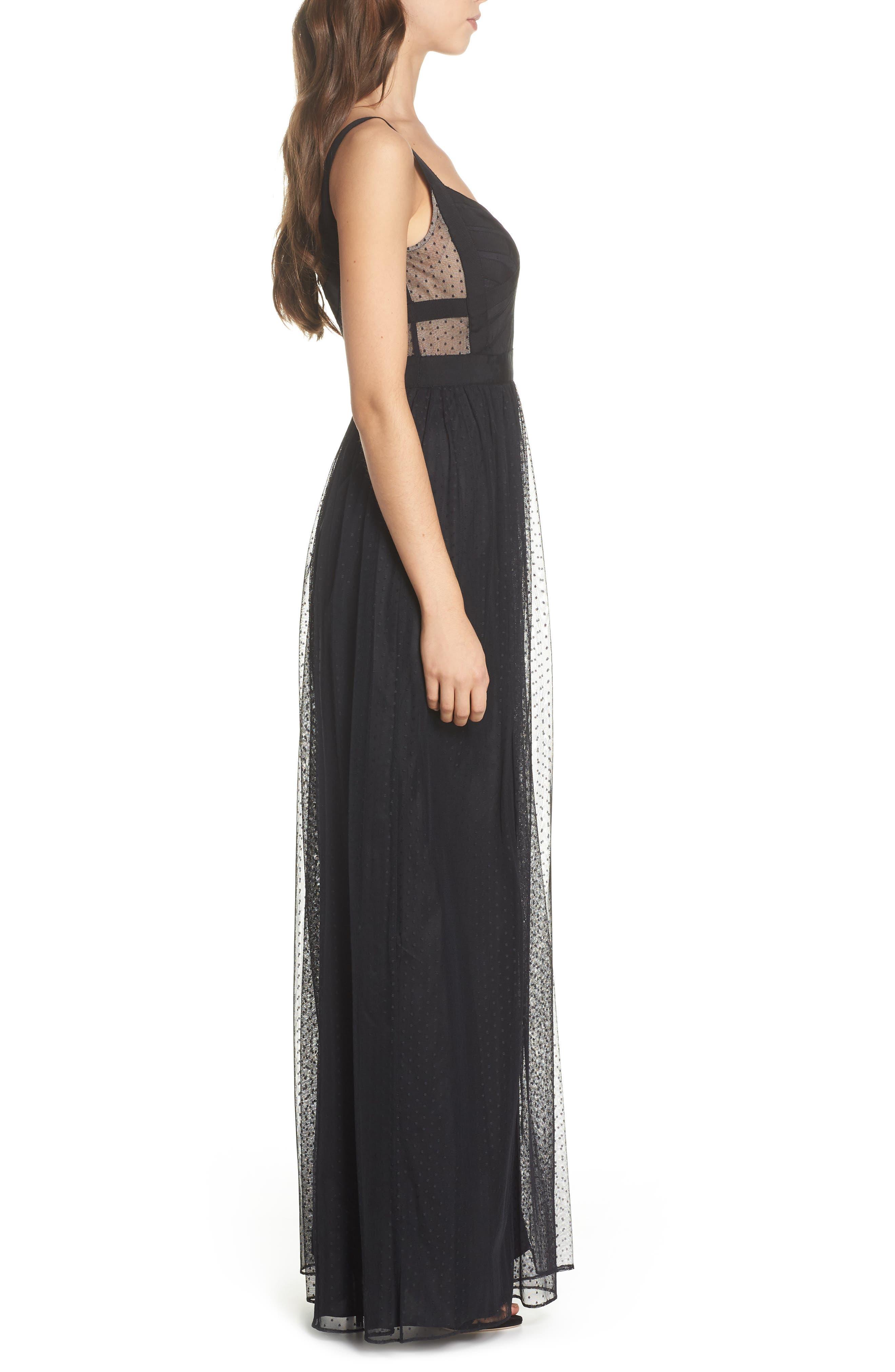 Ribbon Bodice Point d'Esprit Gown,                             Alternate thumbnail 3, color,                             002
