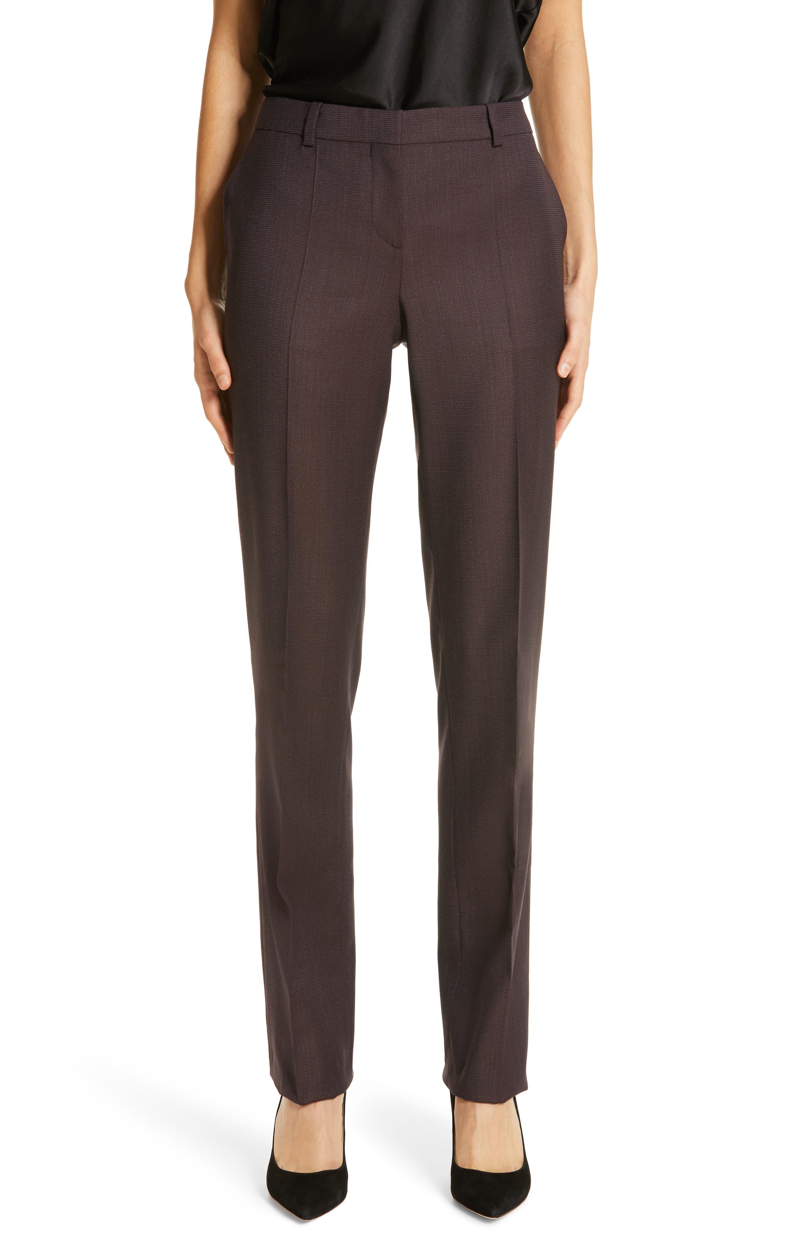 Tamea Slim Wool Suit Pants, Main, color, DARK BERRY FANTASY