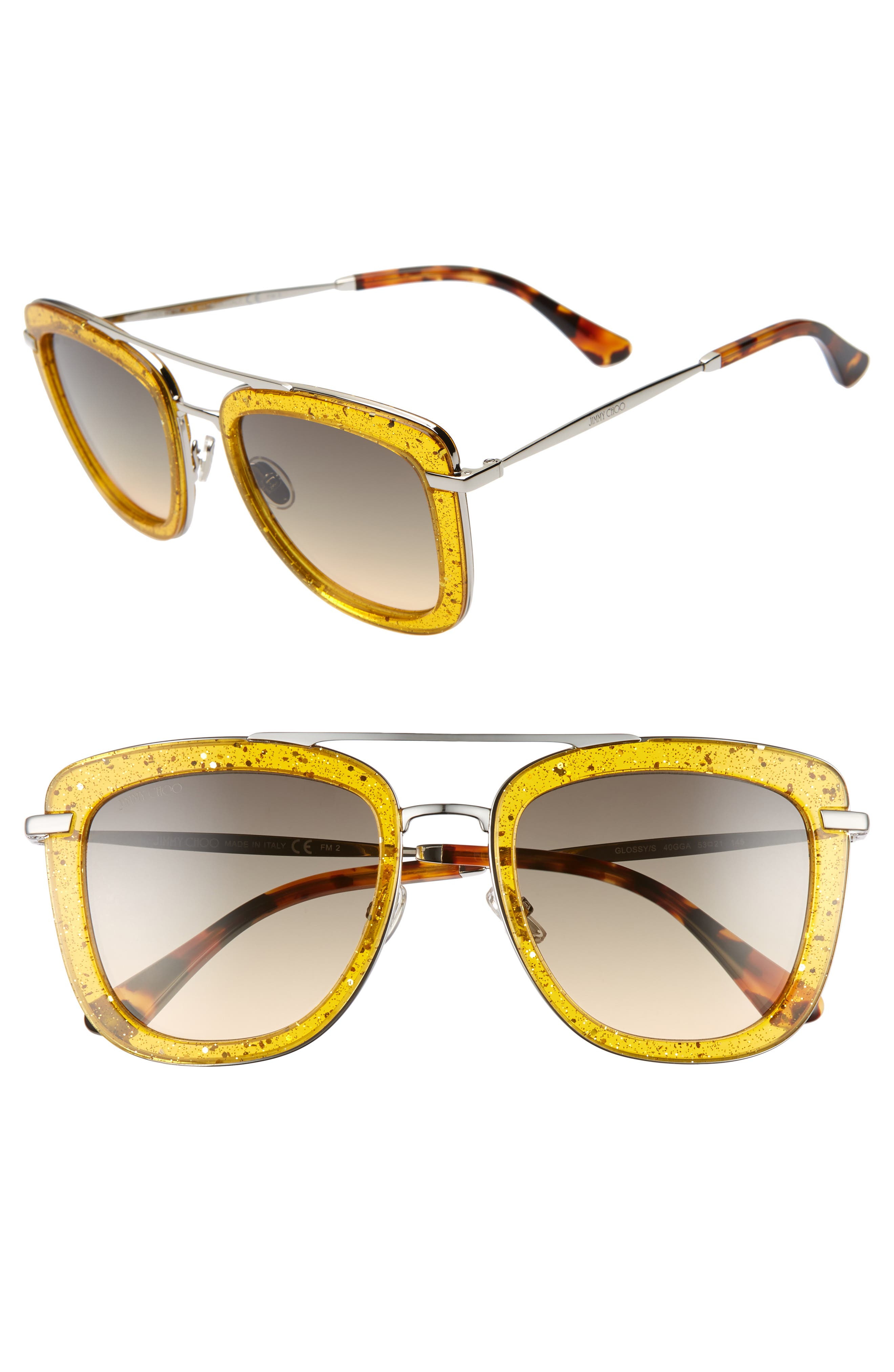 Jimmy Choo Glossy 5m Square Sunglasses - Yellow