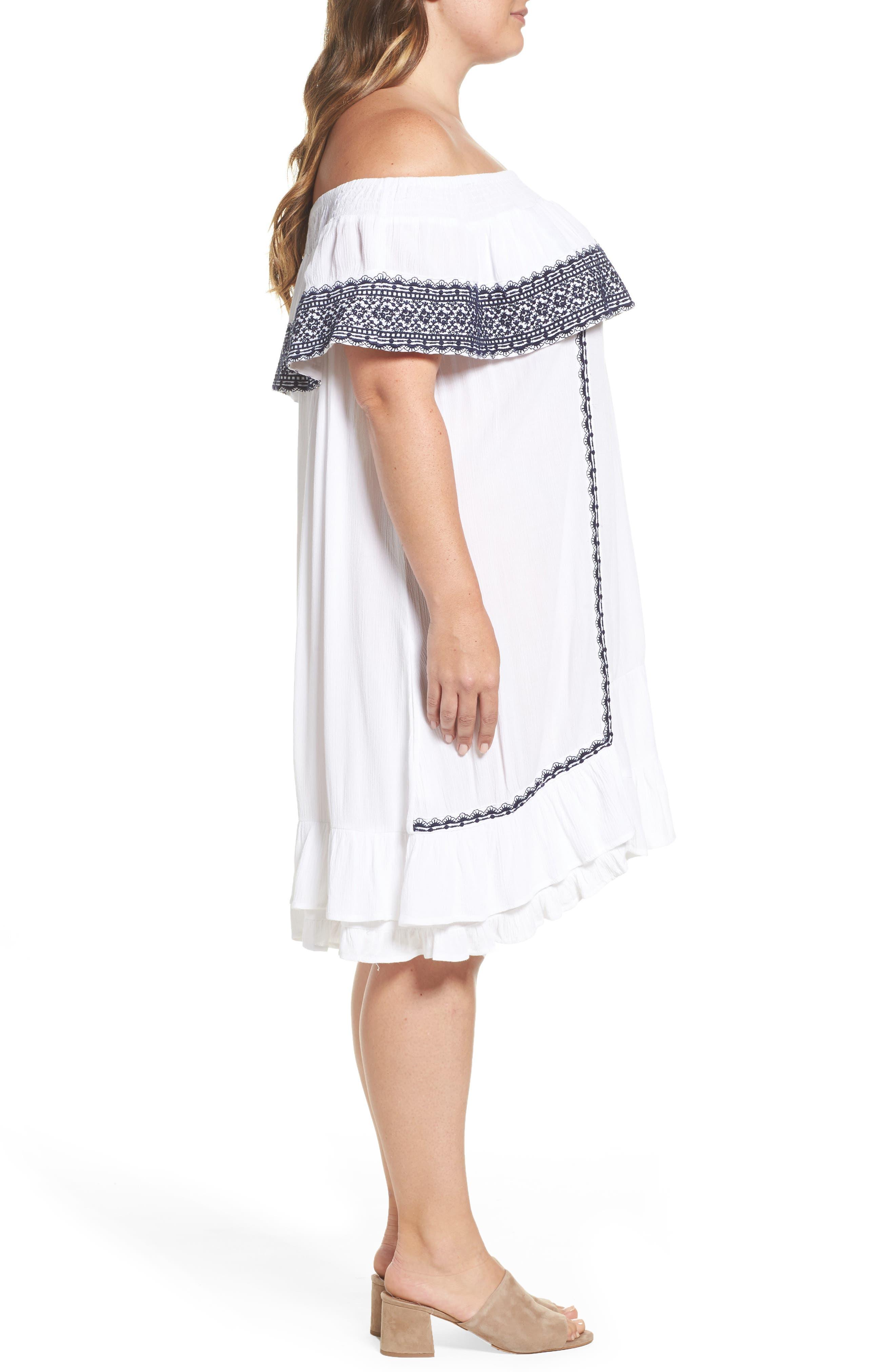 Gavin Ruffle Cover-Up Dress,                             Alternate thumbnail 3, color,                             100