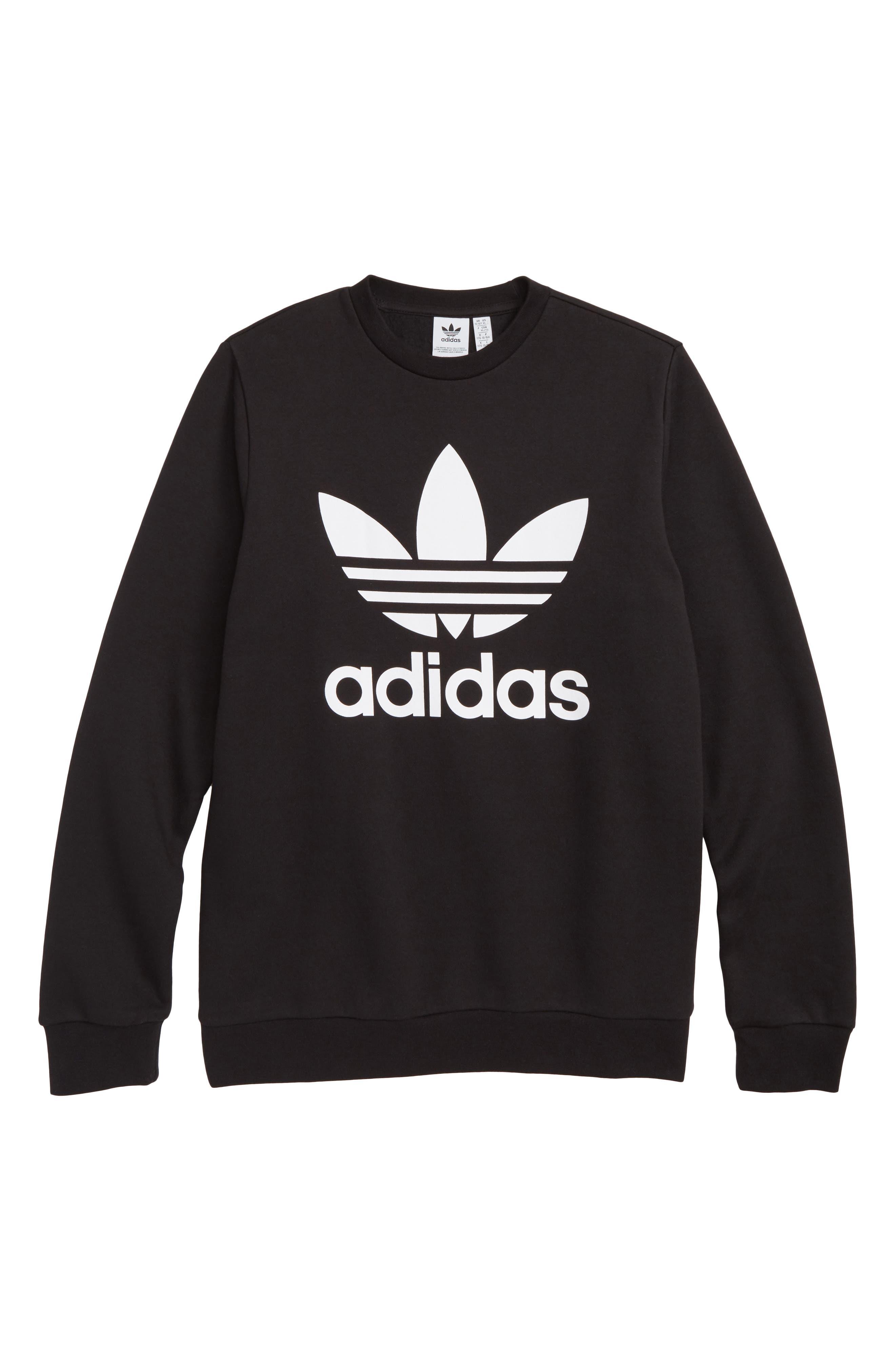 adidas Trefoil Logo Sweatshirt,                             Main thumbnail 1, color,                             BLACK / WHITE