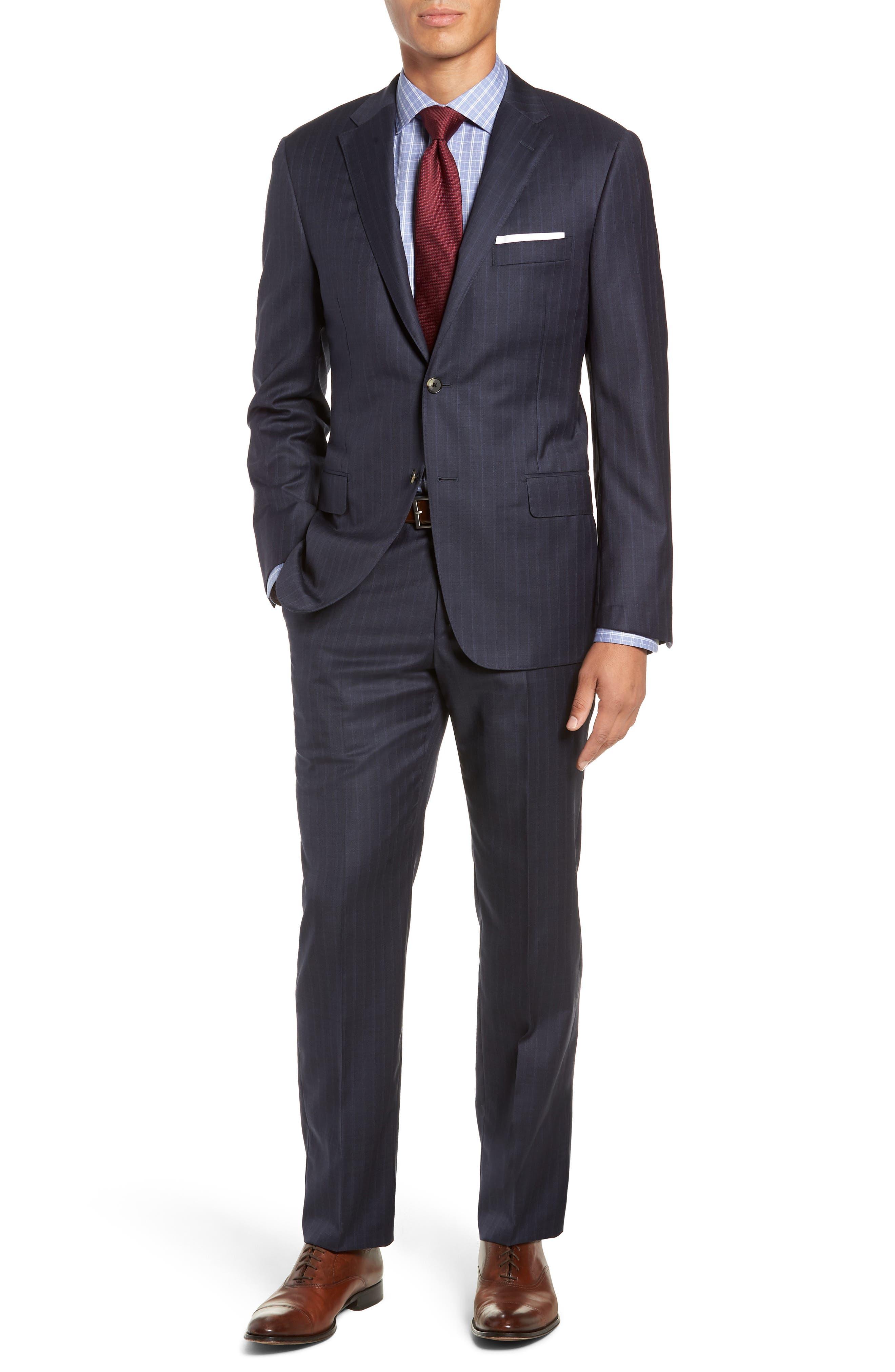 Classic Fit Stripe Wool Suit,                             Main thumbnail 1, color,                             DARK BLUE