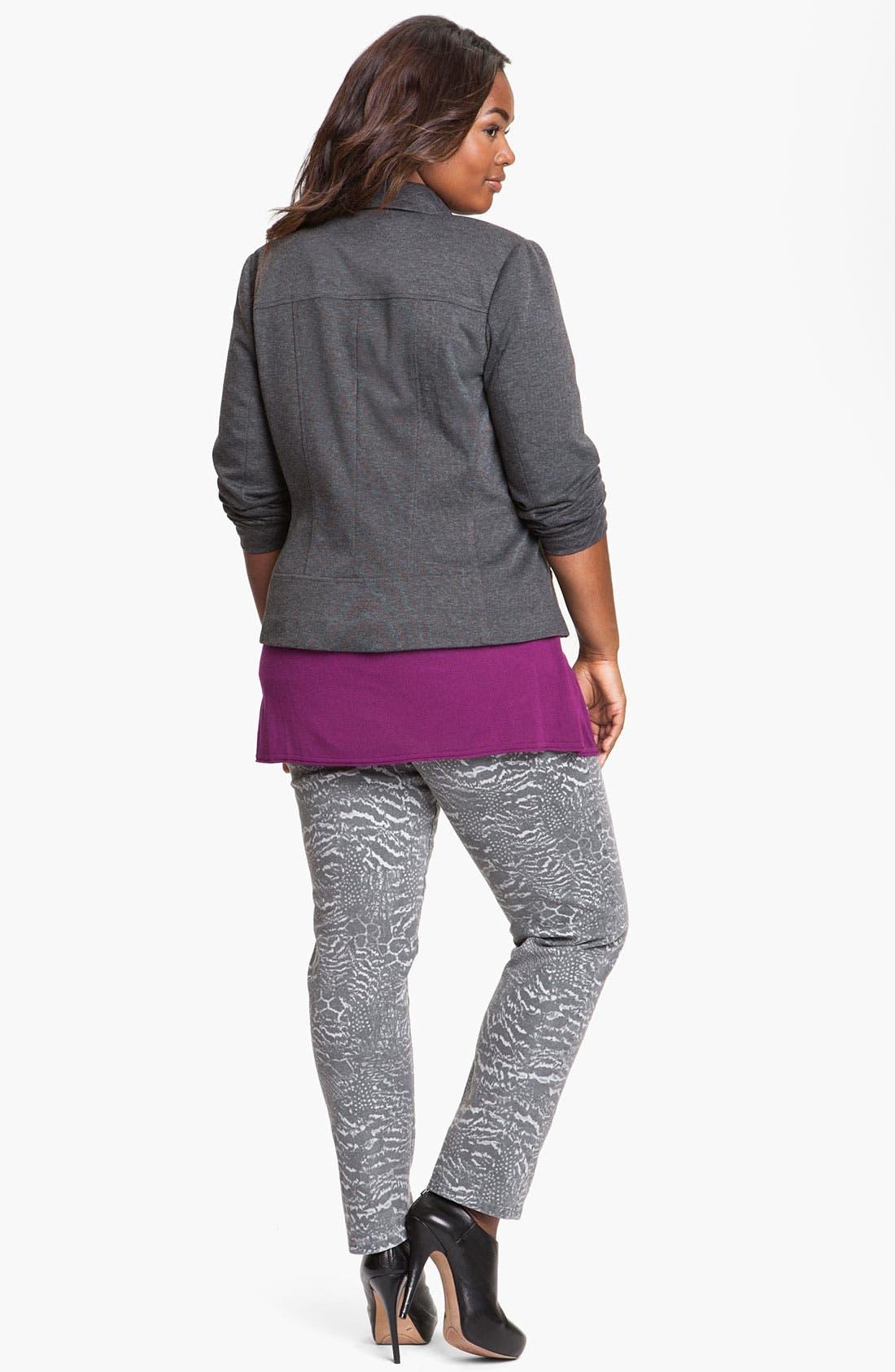 Quilt Trim Ponte Knit Jacket,                             Alternate thumbnail 2, color,                             020