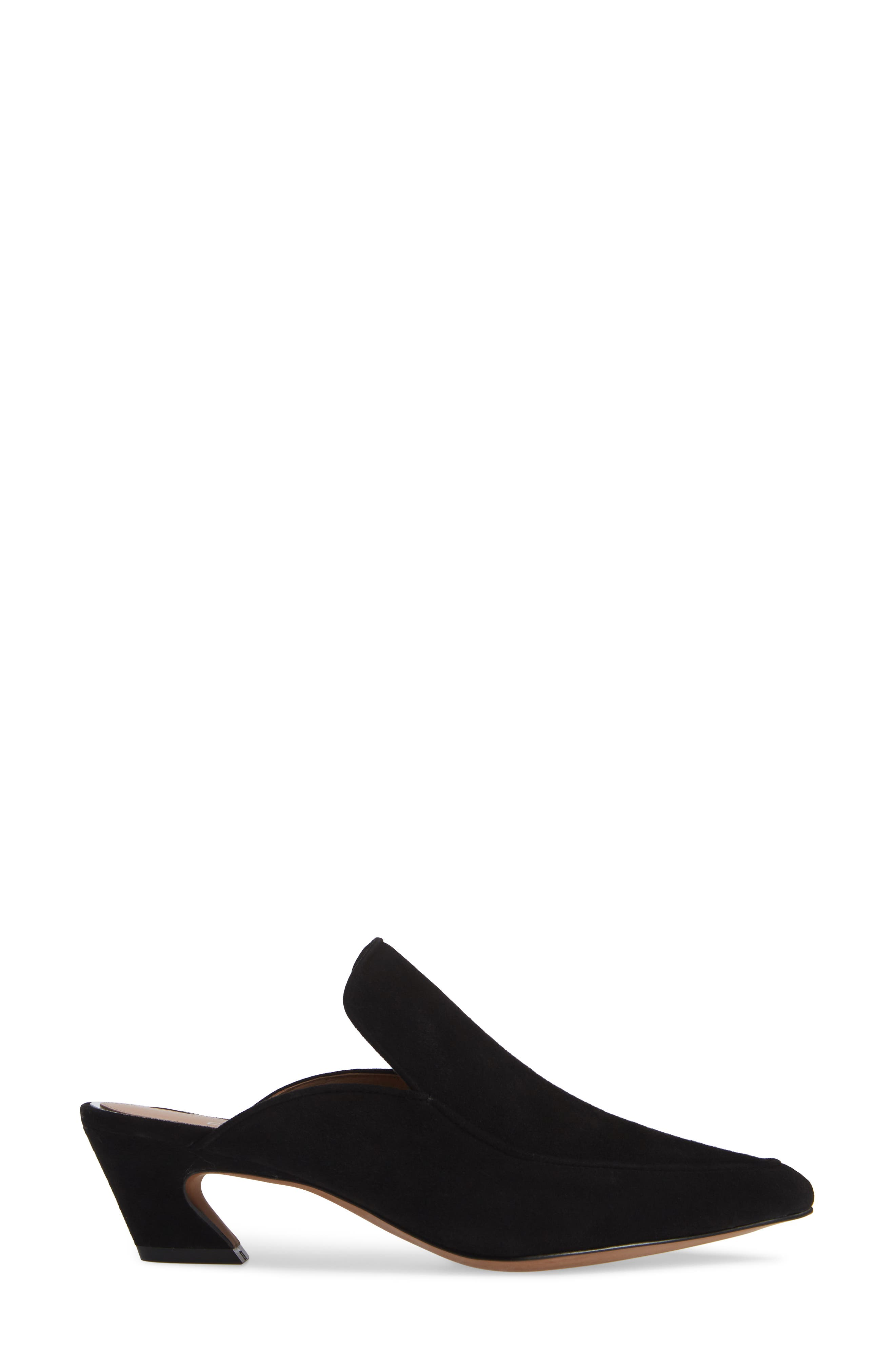 Gina Pointy Toe Mule,                             Alternate thumbnail 3, color,                             BLACK SUEDE