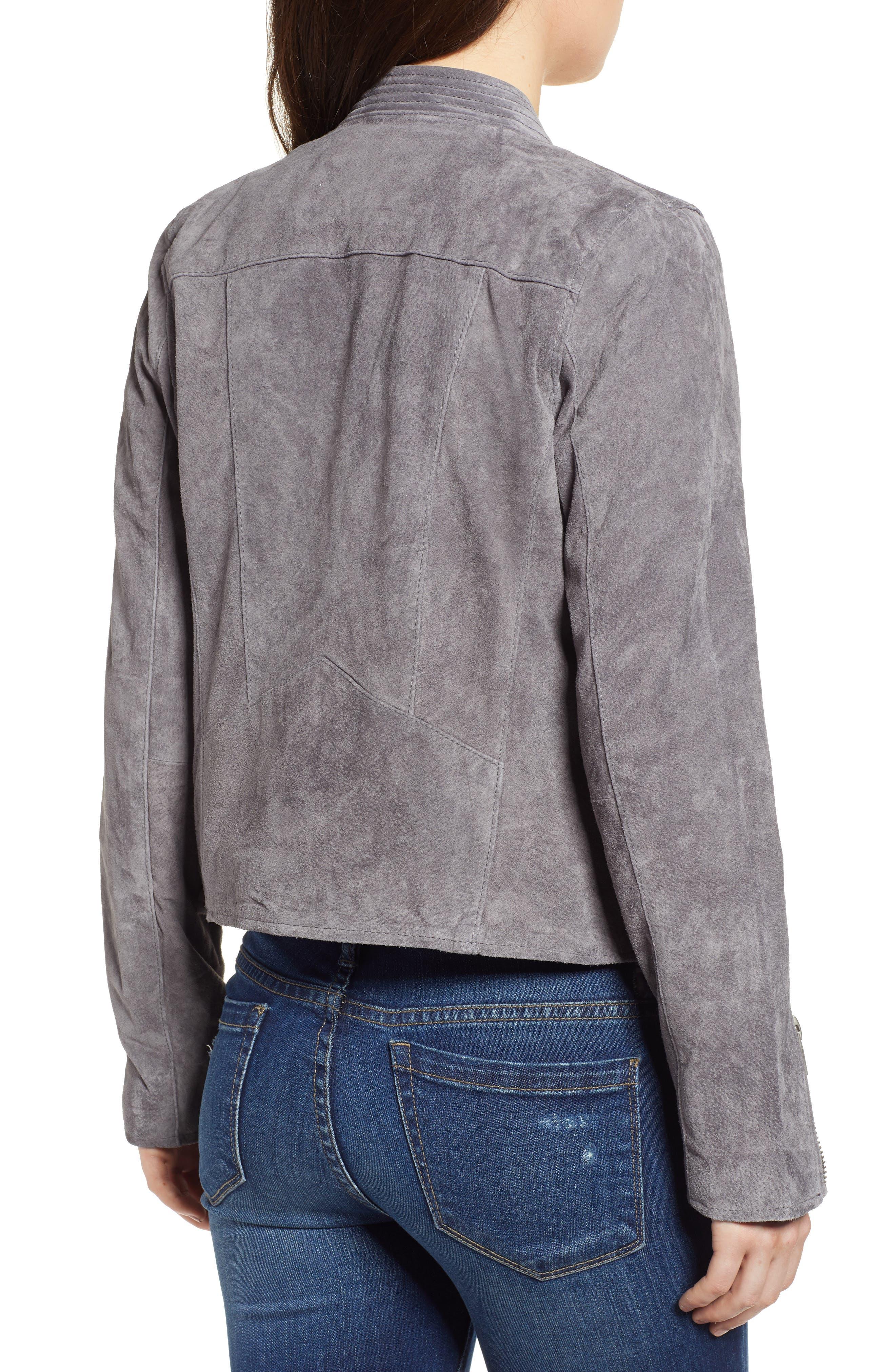 BLANKNYC,                             No Limit Suede Moto Jacket,                             Alternate thumbnail 2, color,                             SILVERSCREEN