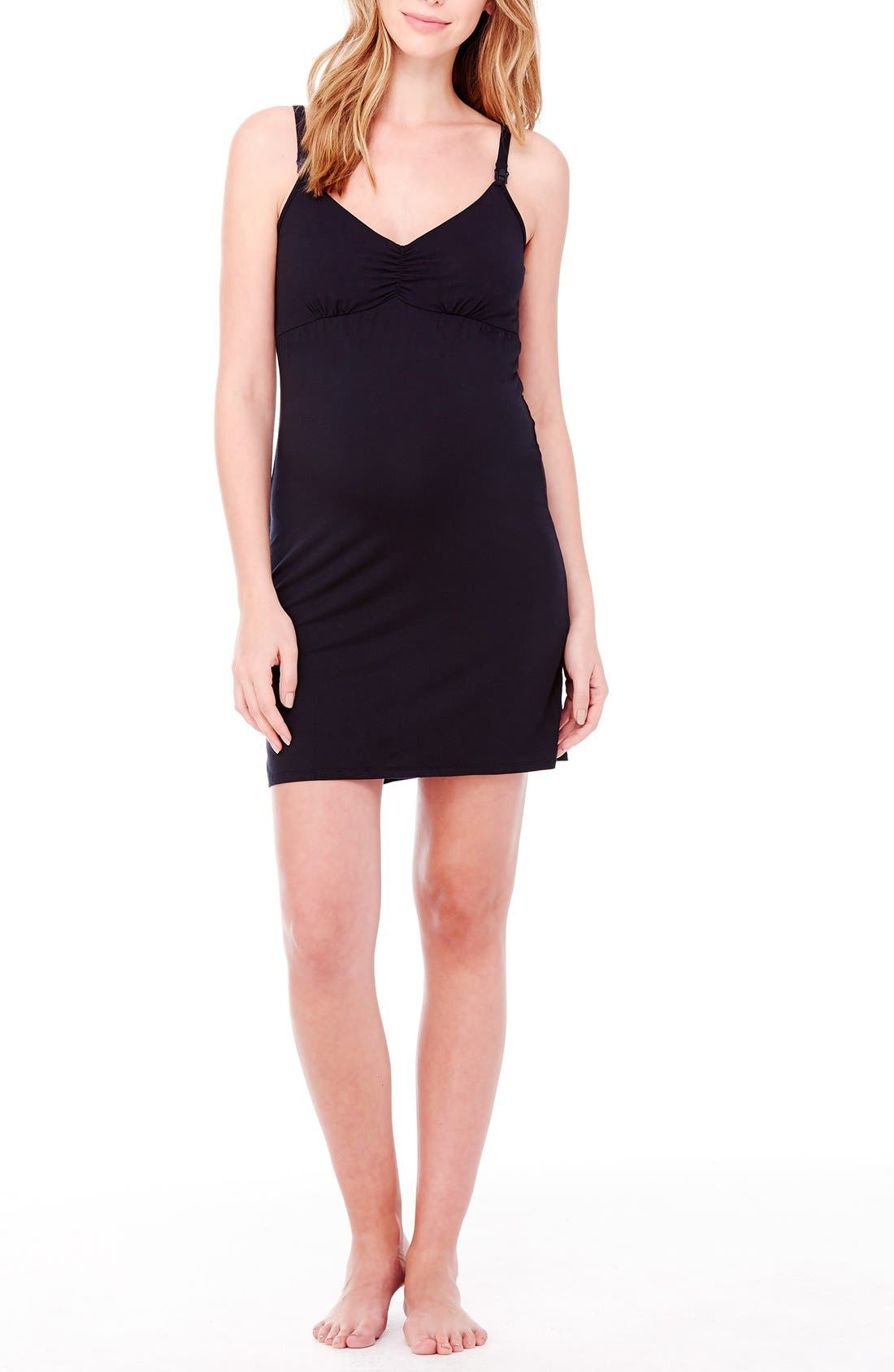 Jersey Maternity/Nursing Chemise,                         Main,                         color, JET BLACK