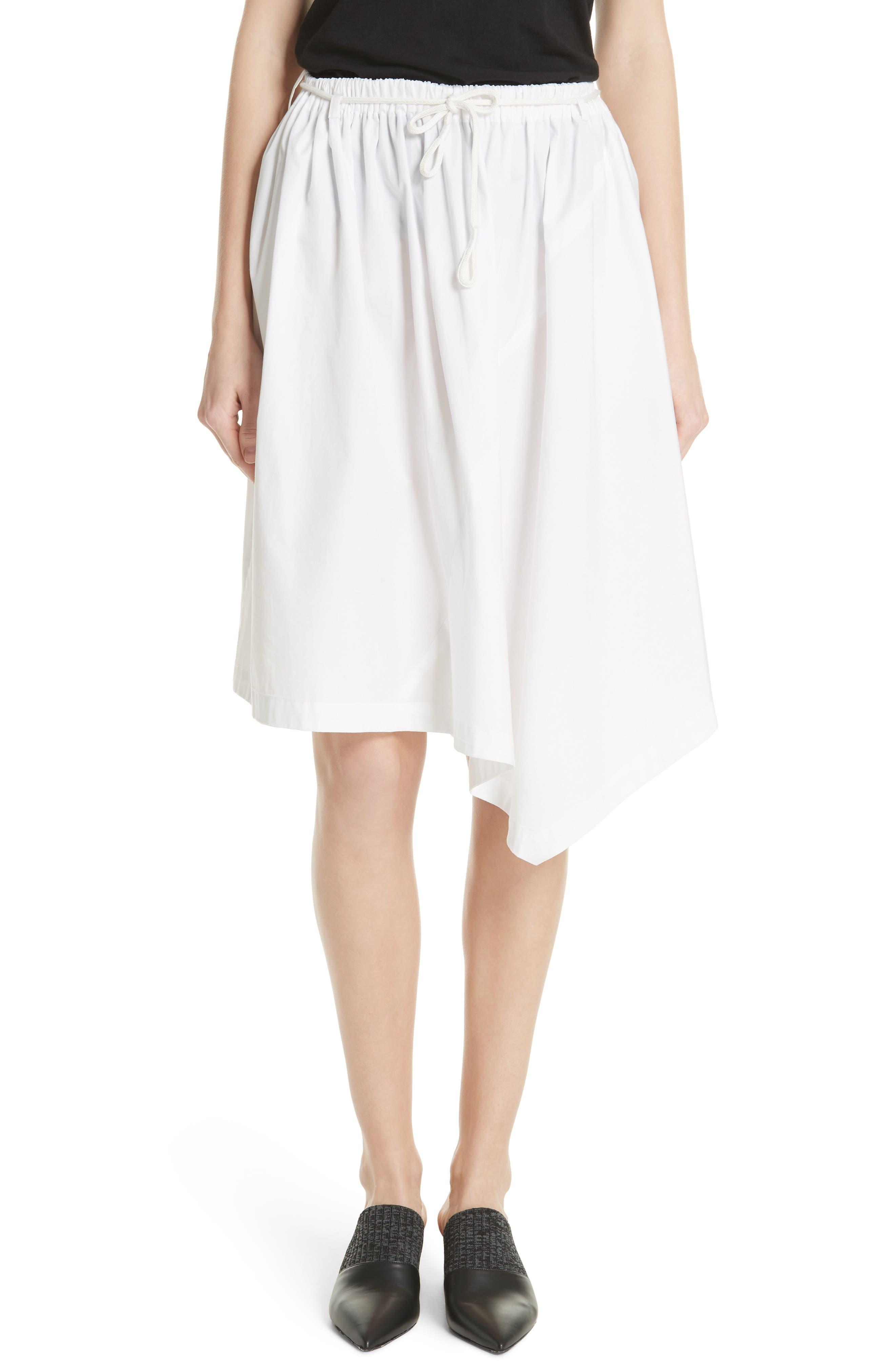Asymmetrical Drawstring Cotton Skirt,                             Main thumbnail 1, color,                             137
